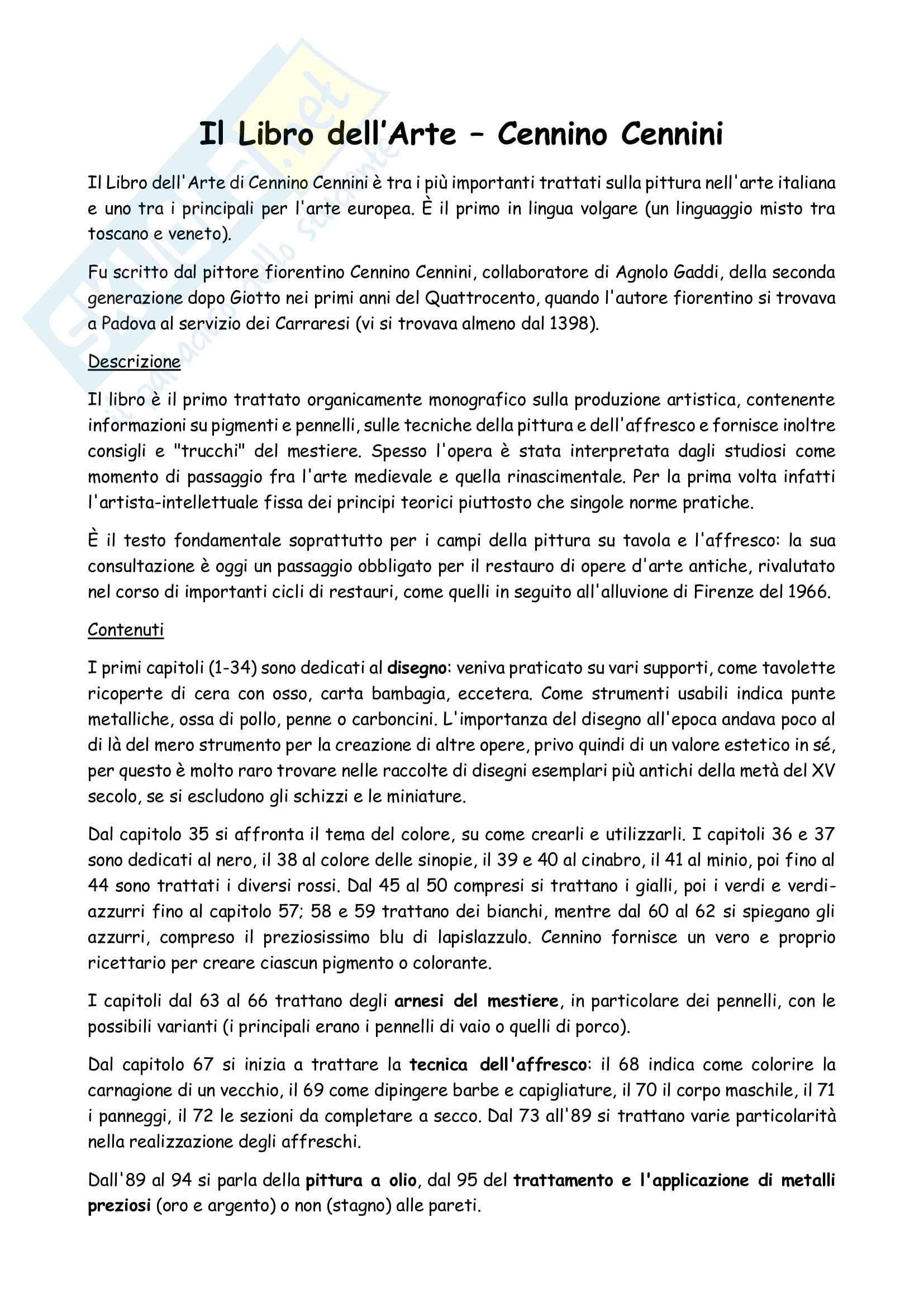 Riassunto esame Storia delle Tecniche Artistiche, prof. Laskaris, libro consigliato Il Libro dell Arte, Cennini