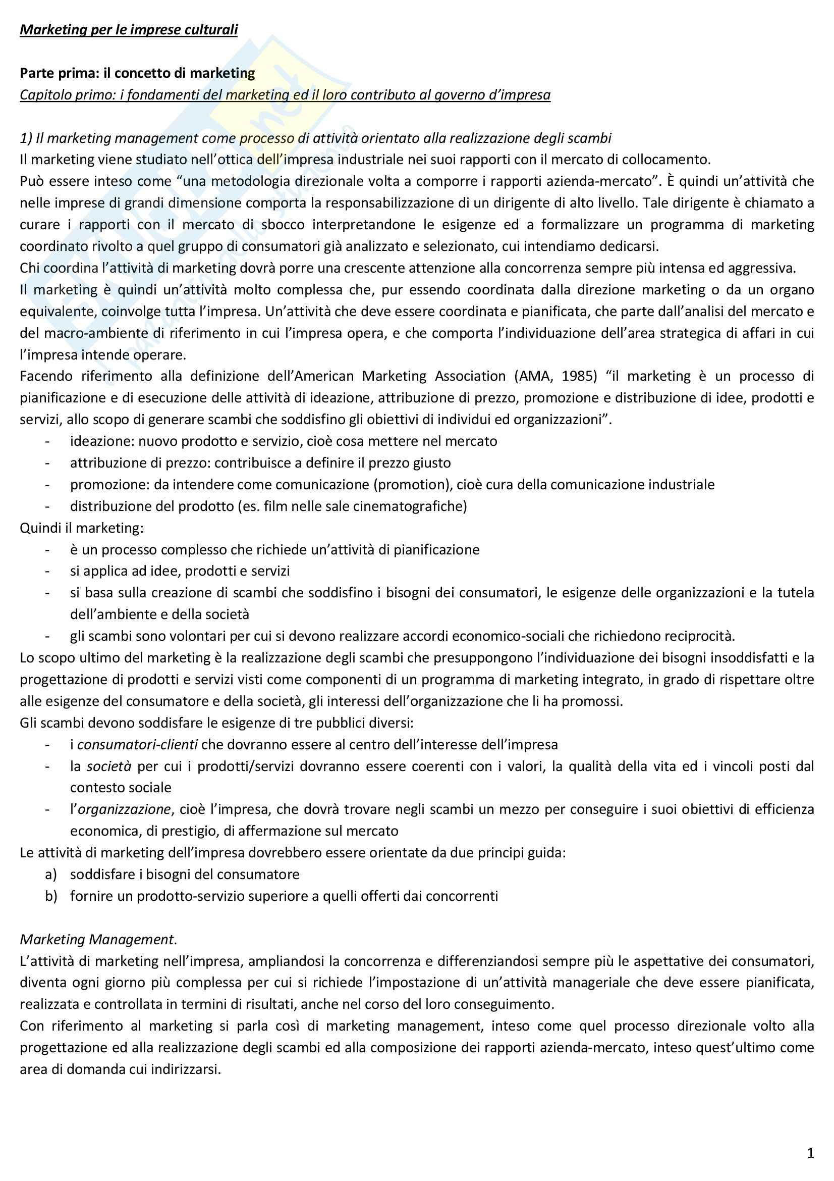Riassunto esame Marketing, prof. Ranfagni, libro consigliato Marketing per il governo d'impresa, Burresi, Aiello