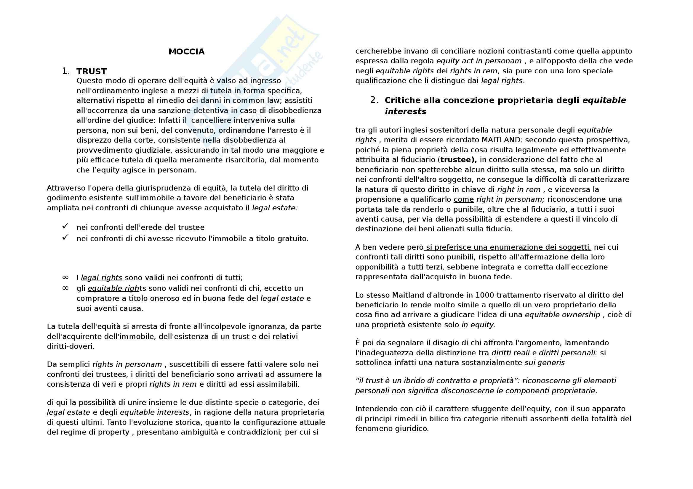 Riassunto esame Diritto privato comparato, prof. Di Landro, libro consigliato Diritto privato comparato, Moccia sul trust