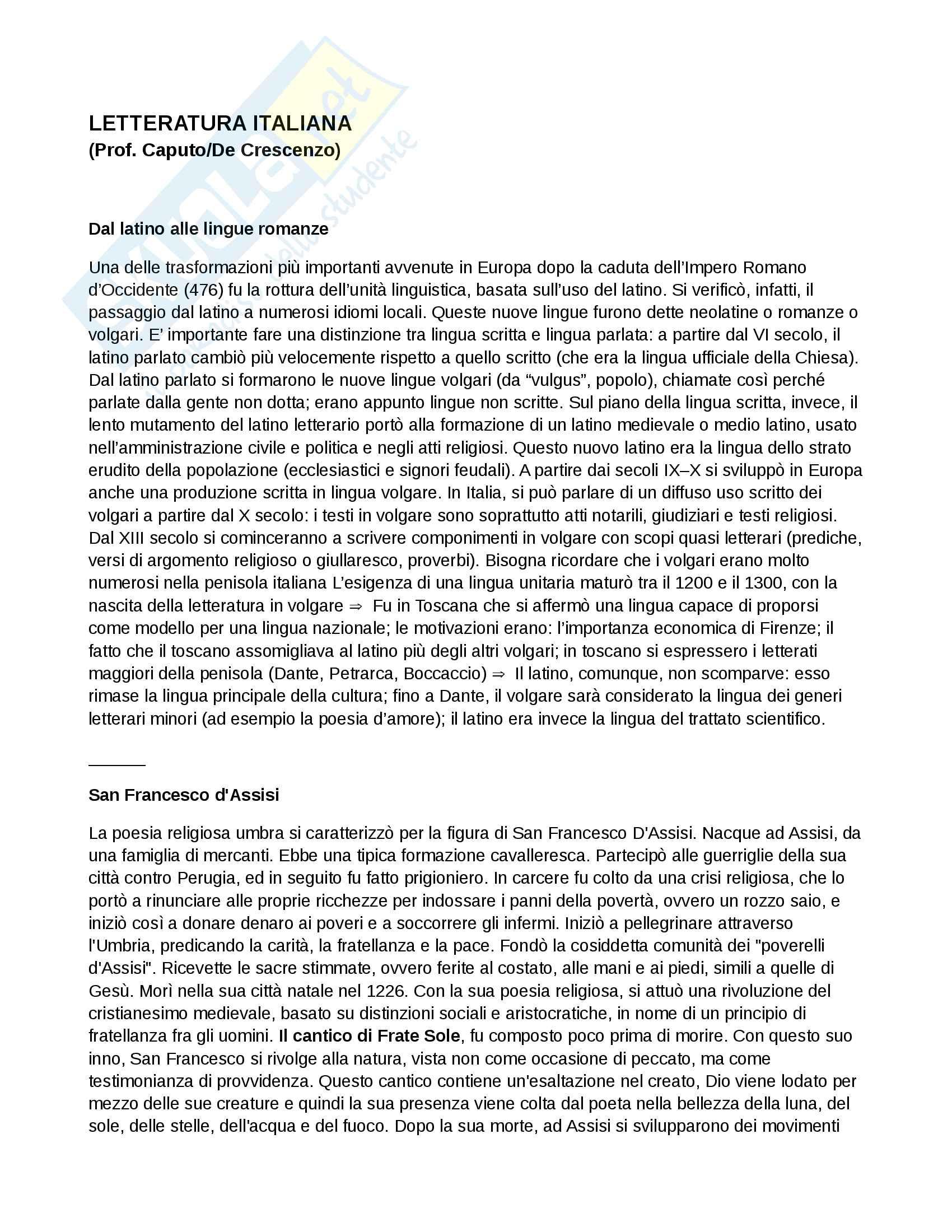 Appunti di Letteratura Italiana I e II (Con prof.Caputo/De Crescenzo)