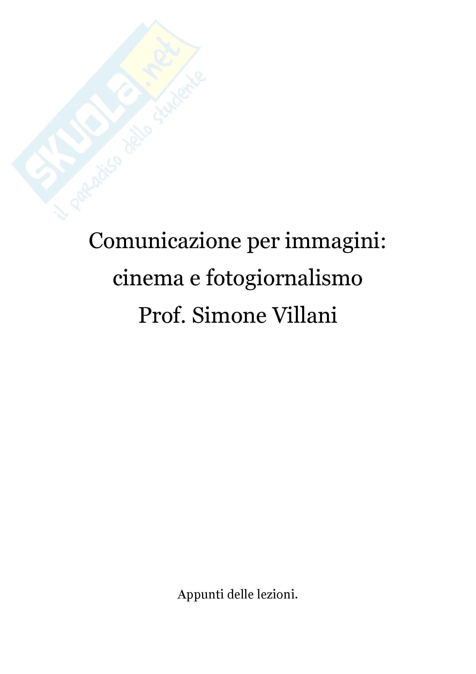 Comunicazione per immagini cinema e fotogiornalismo, Appunti