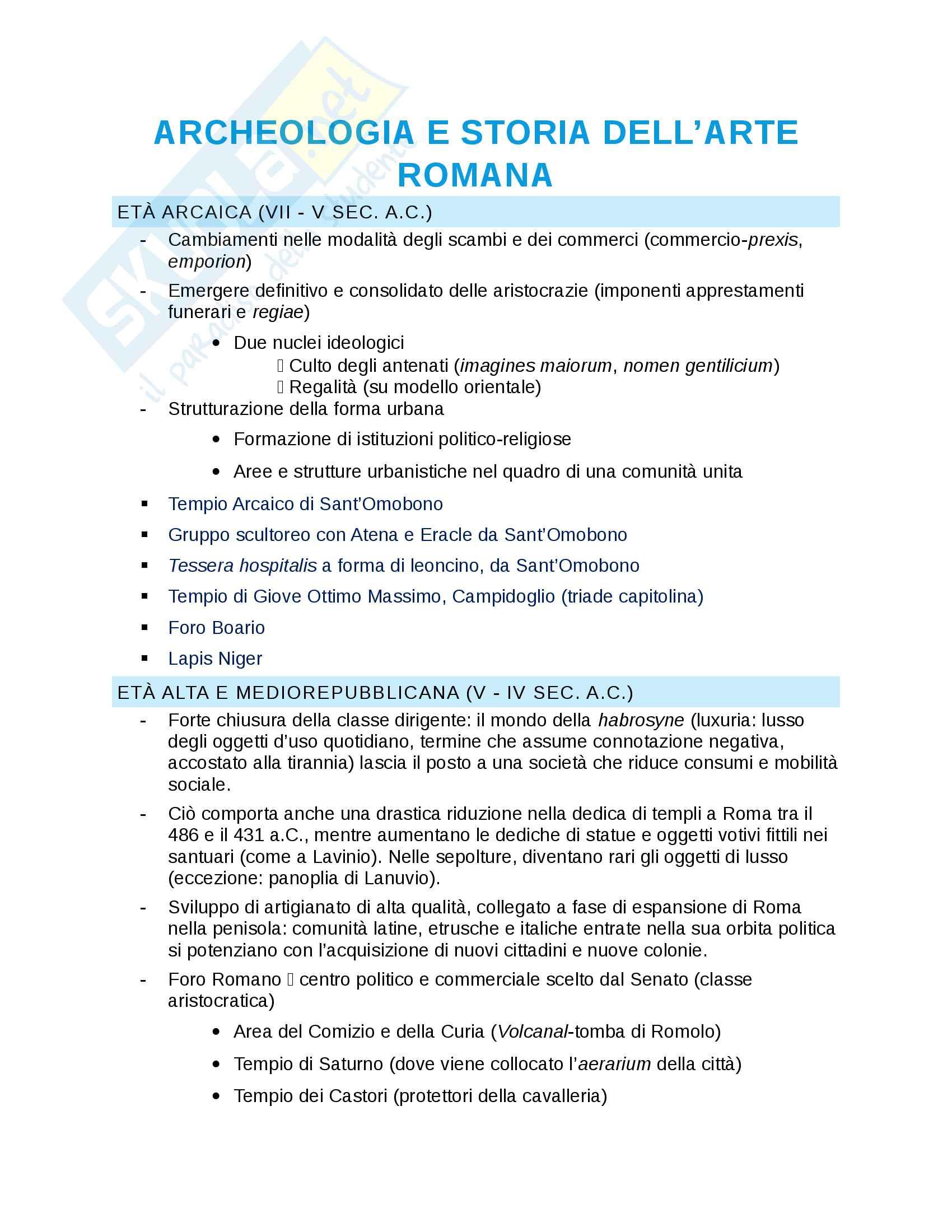 Riassunto esame Archeologia e Storia dell'Arte Romana, prof.ssa Ilaria Romeo
