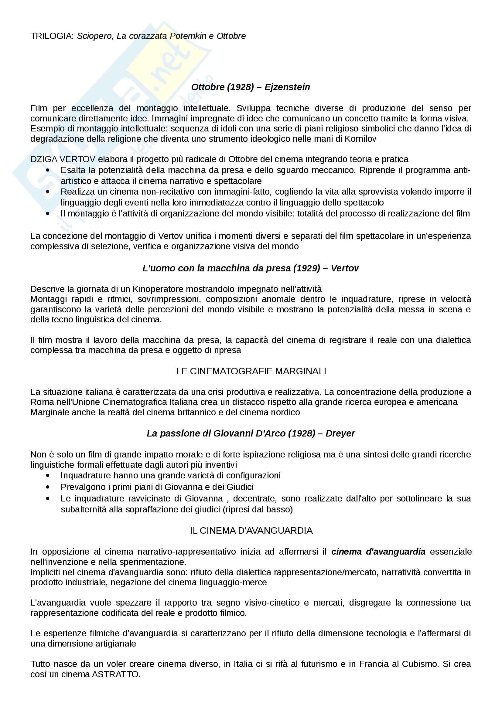 Riassunto esame Cinema, libro adottato Introduzione alla storia del cinema, Bertetto Pag. 11