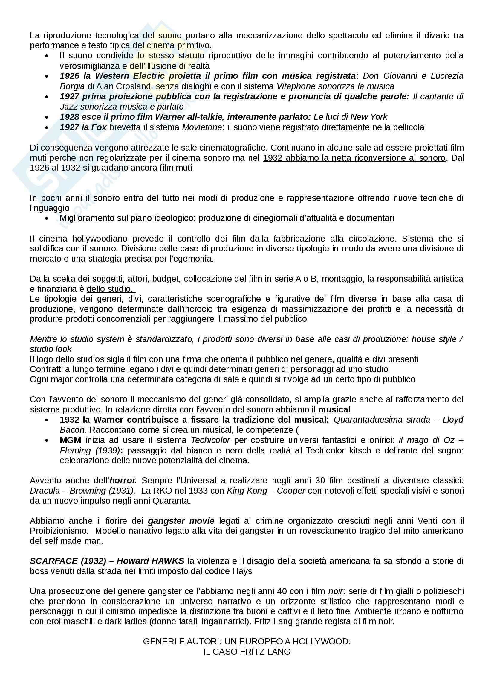 Riassunto esame Cinema, libro adottato Introduzione alla storia del cinema, Bertetto Pag. 16