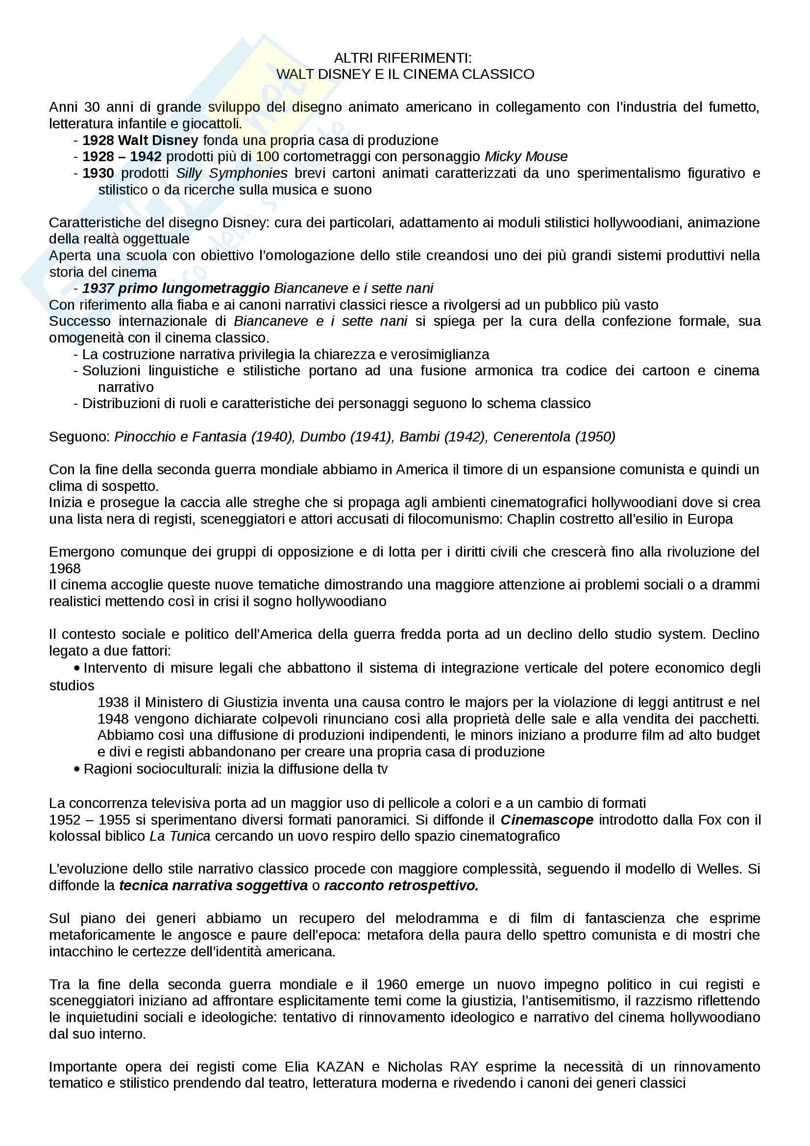 Riassunto esame Cinema, libro adottato Introduzione alla storia del cinema, Bertetto Pag. 21