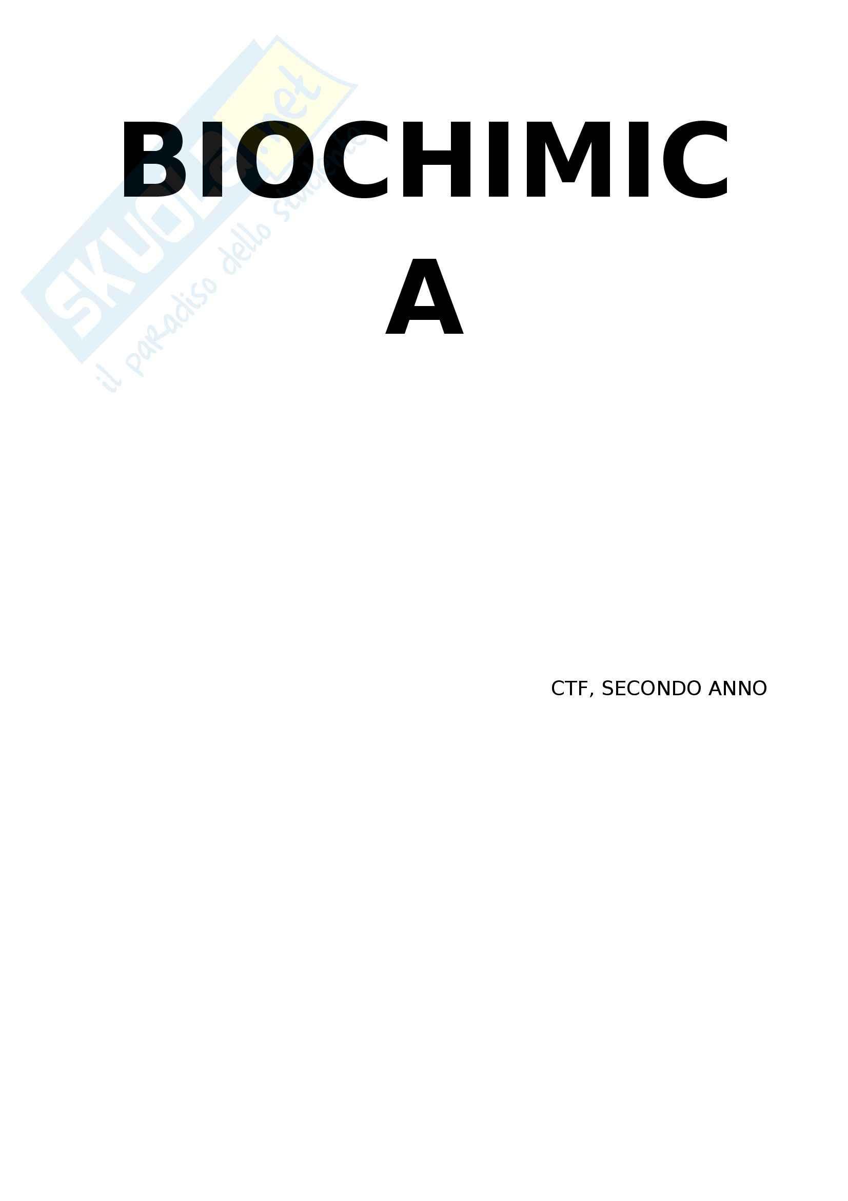 Biochimica generale - Appunti