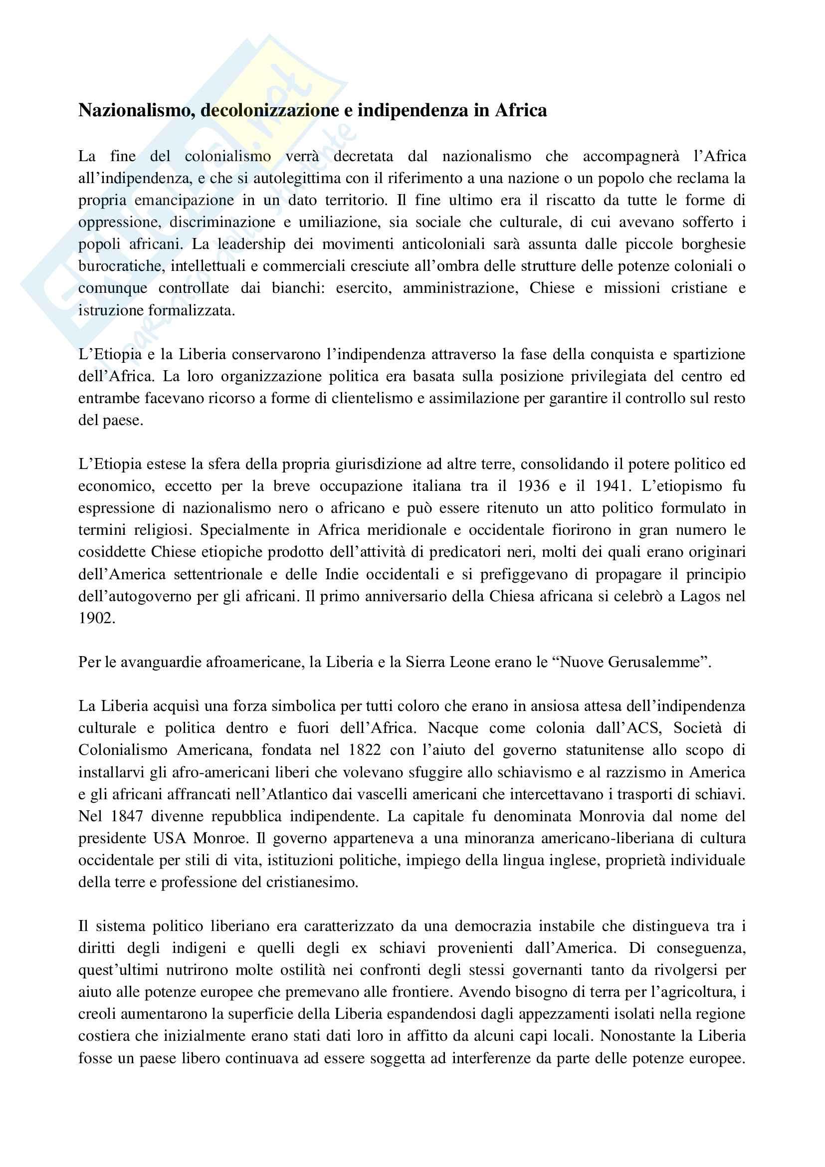 Appunti esame Storia e istituzioni dell'Africa, prof. Carcangiu, Nazionalismo, decolonizzazione e indipendenza in Africa