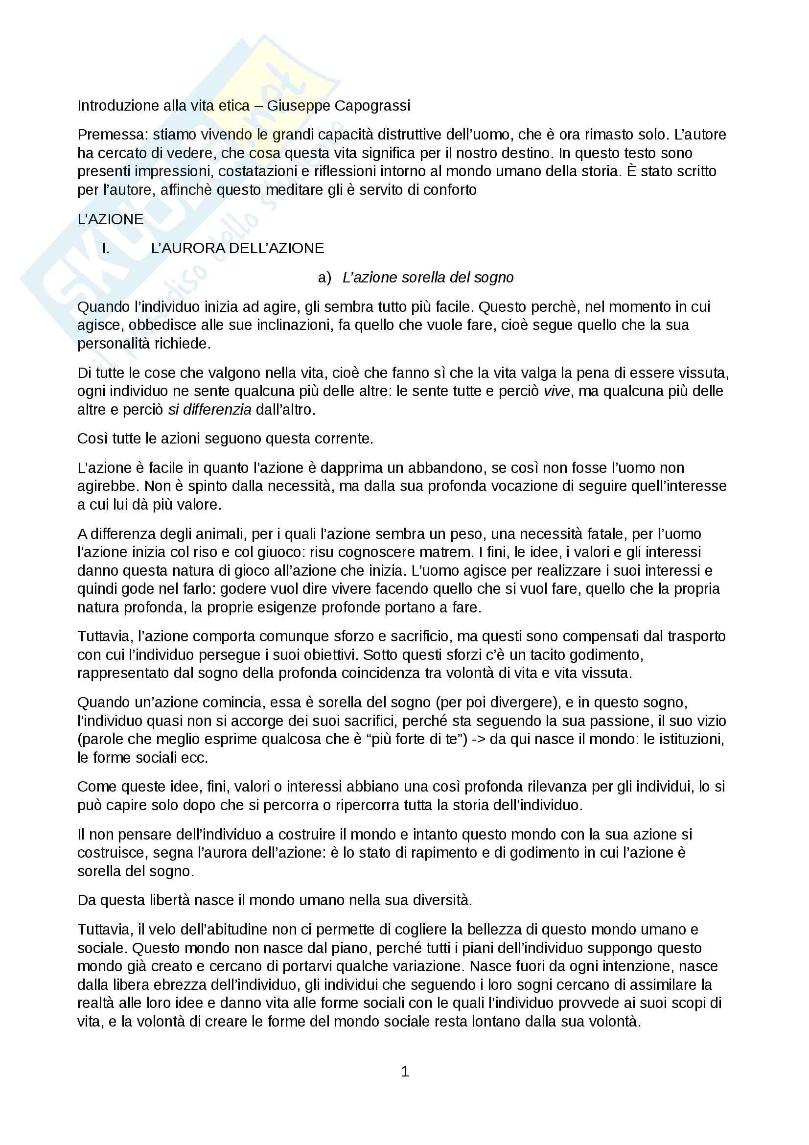 Riassunto esame Teologia Morale, Docente: Giuseppina De Simone, libro consigliato: Introduzione alla vita etica, Giuseppe Capograssi