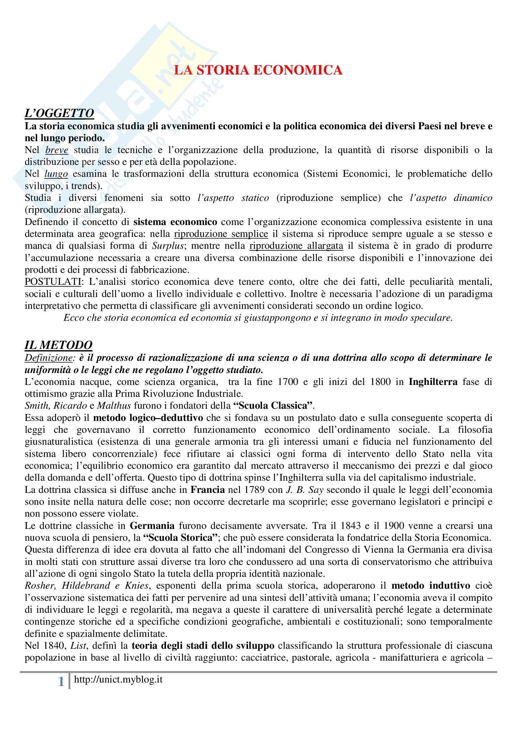 Storia dell'economia mondiale, Assante, Cipolla, Romano - Appunti