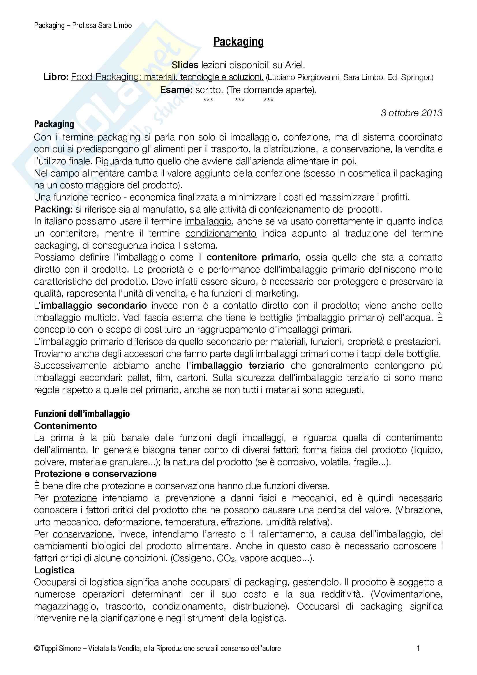 Packaging, (Processi della tecn. alimentare con elementi di packaging, MODULO 2) Pag. 2