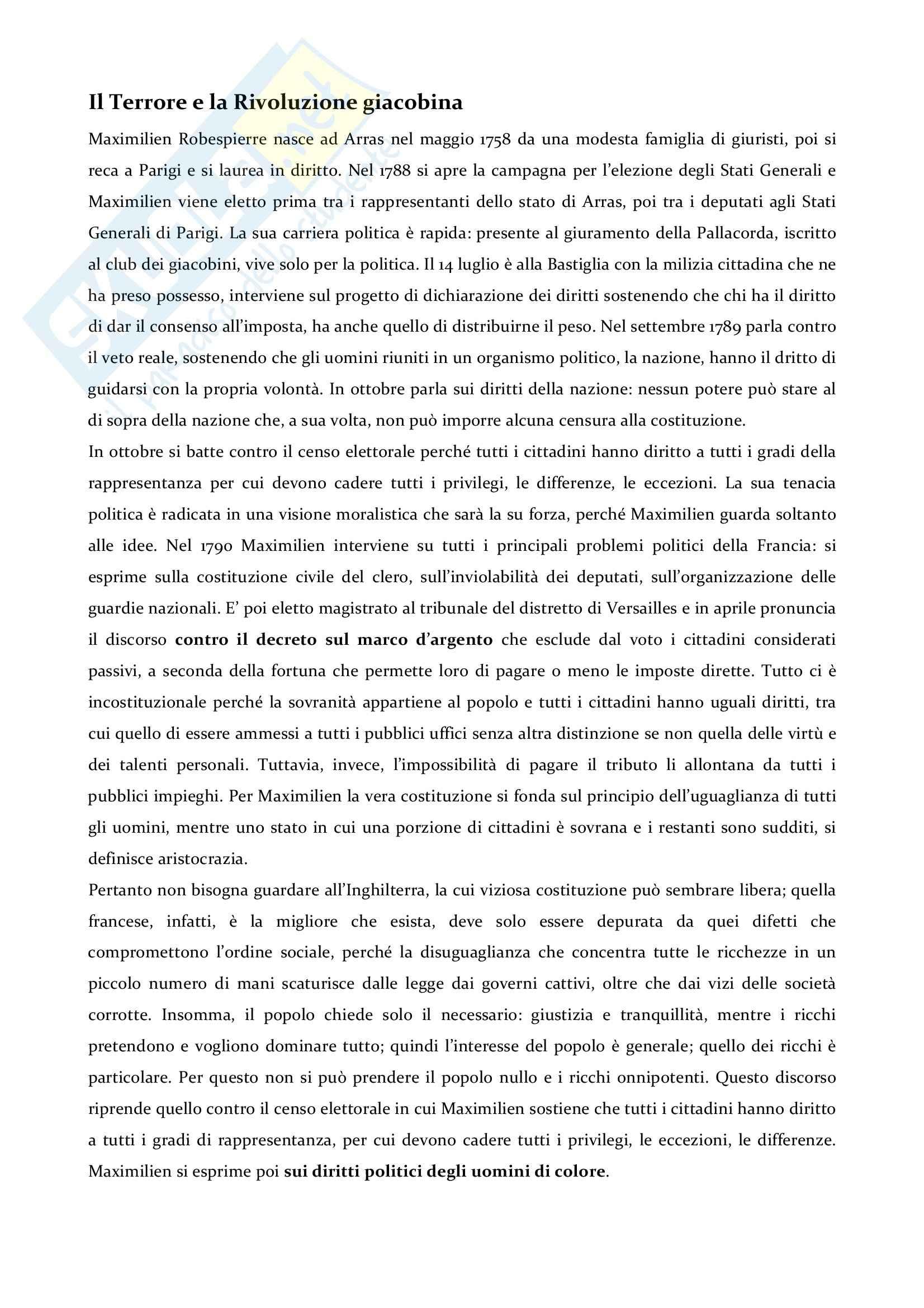 Riassunto esame storia moderna, prof. Imbruglia, libro consigliato Il Terrore e la Rivoluzione giacobina, Robespierre