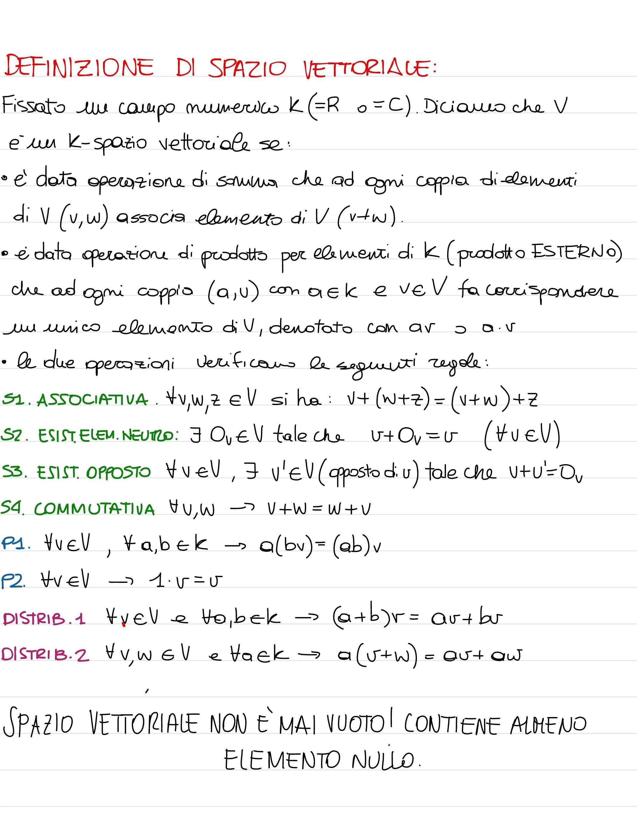 Geometria analitica e algebra lineare - Appunti