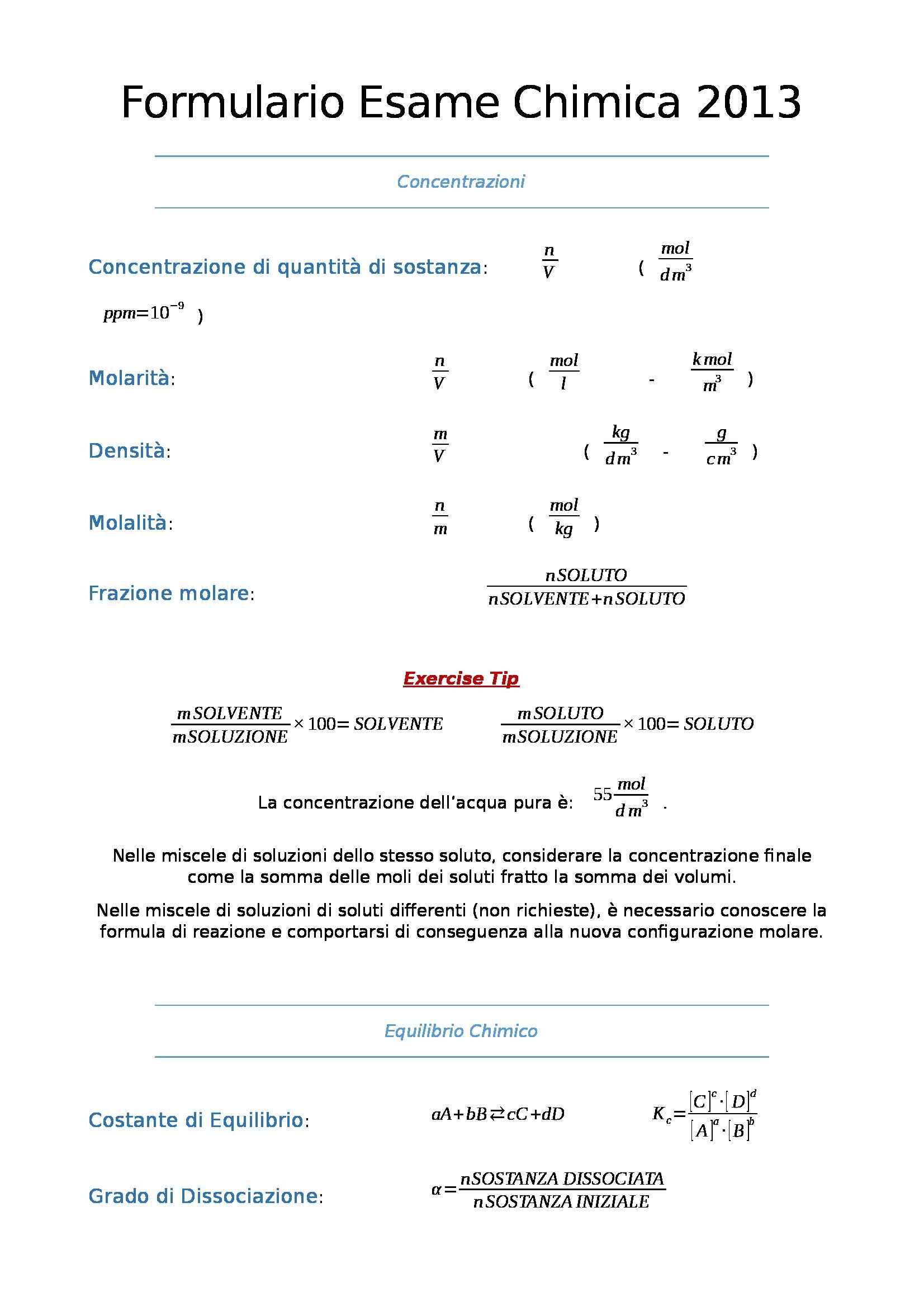 Chimica generale e inorganica - formulario