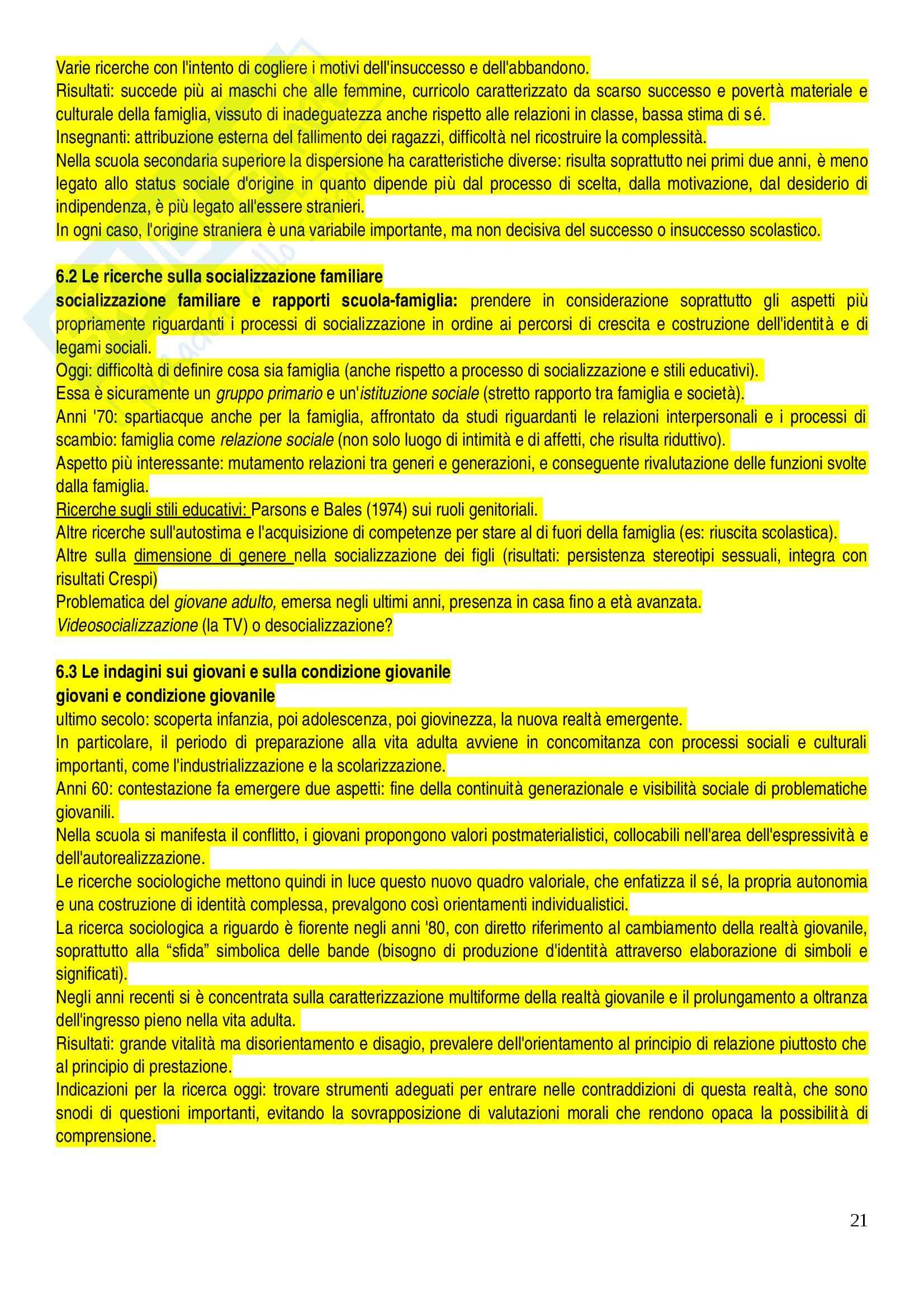 Riassunto esame sociologia dell'educazione, prof Colombo, libro consigliato Educazione e società, Besozzi Pag. 21