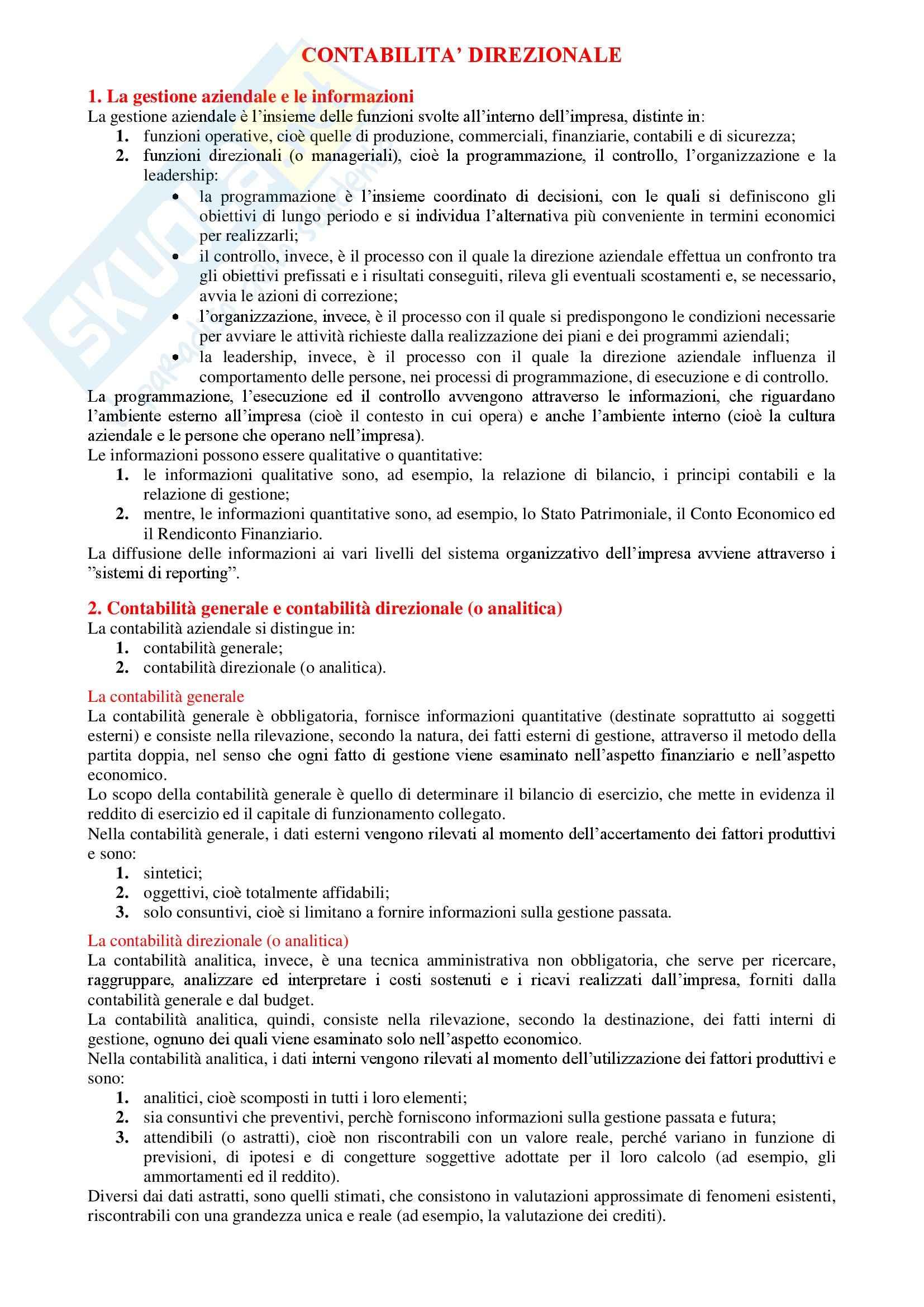 Contabilità generale e analitica - Riassunto esame tutto il programma, prof. Verdini