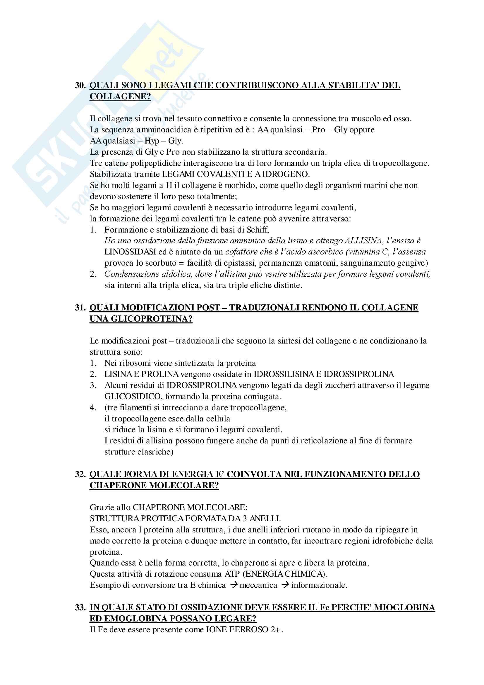 Domande e Risposte Esame Biochimica Generale Mod.1 Primo Parziale Pag. 11