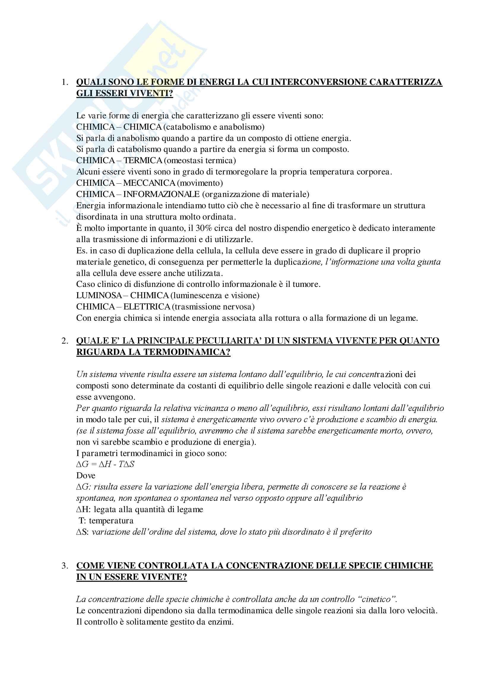 Domande e Risposte Esame Biochimica Generale Mod.1 Primo Parziale Pag. 2
