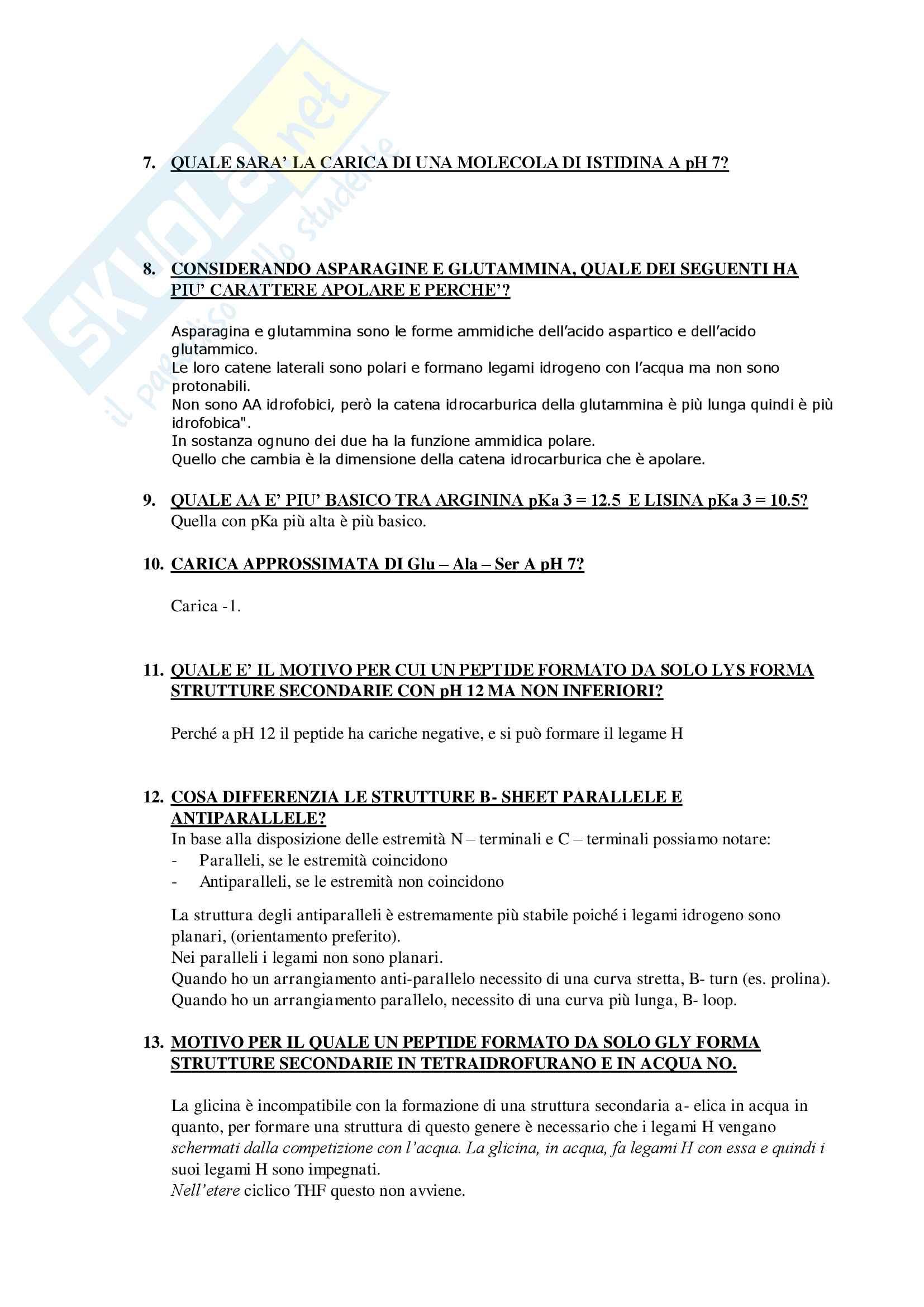 Domande e Risposte Esame Biochimica Generale Mod.1 Primo Parziale Pag. 6