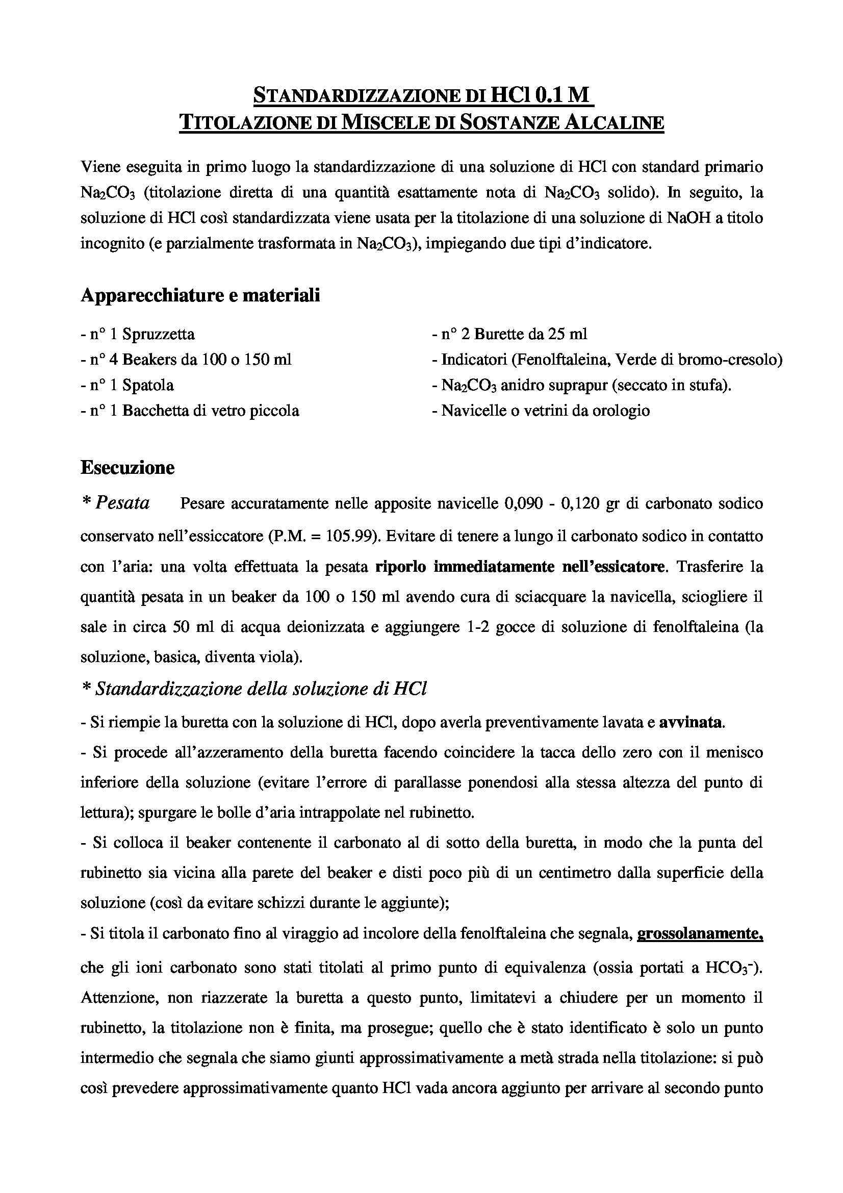 Laboratorio di chimica analitica - Titolazione di miscele alcaline