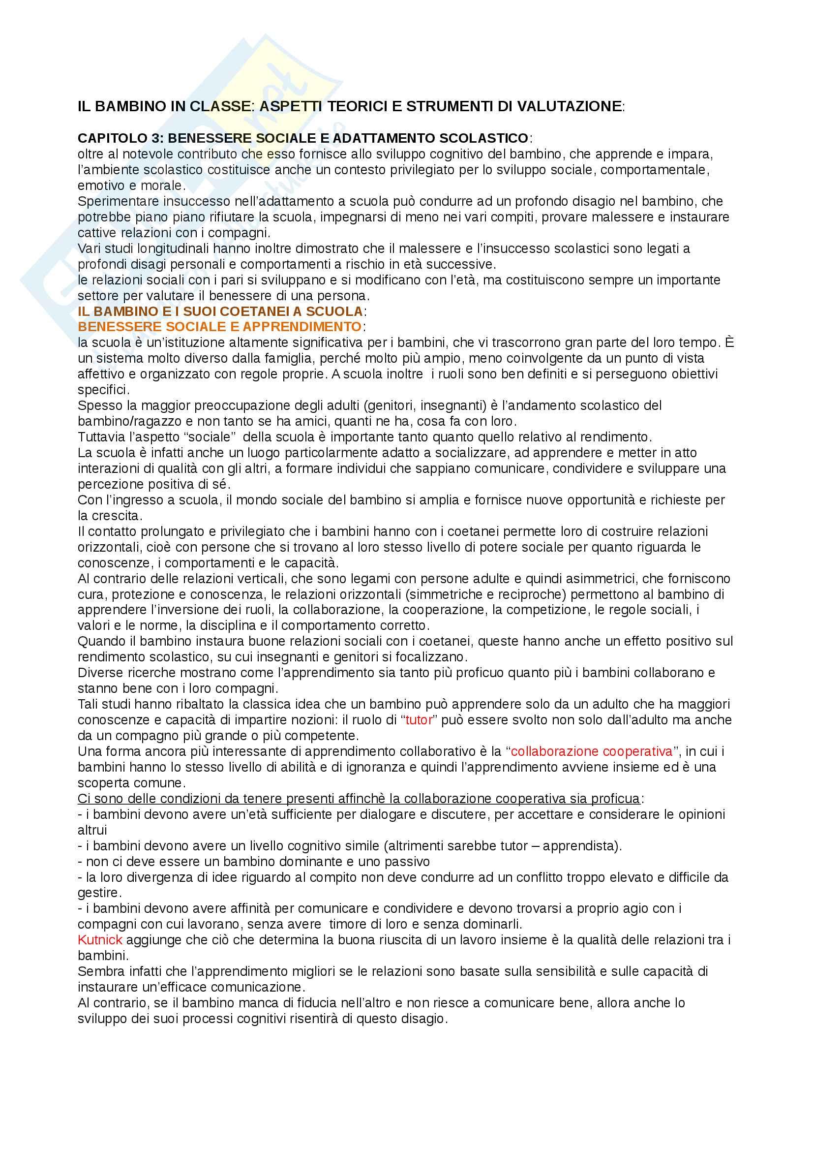 Sunto di psicologia dell'educazione e dei processi di apprendimento, prof. Camodeca, libro consigliato Il bambino in classe, Aureli, Bascelli, Camodeca, Di Sano