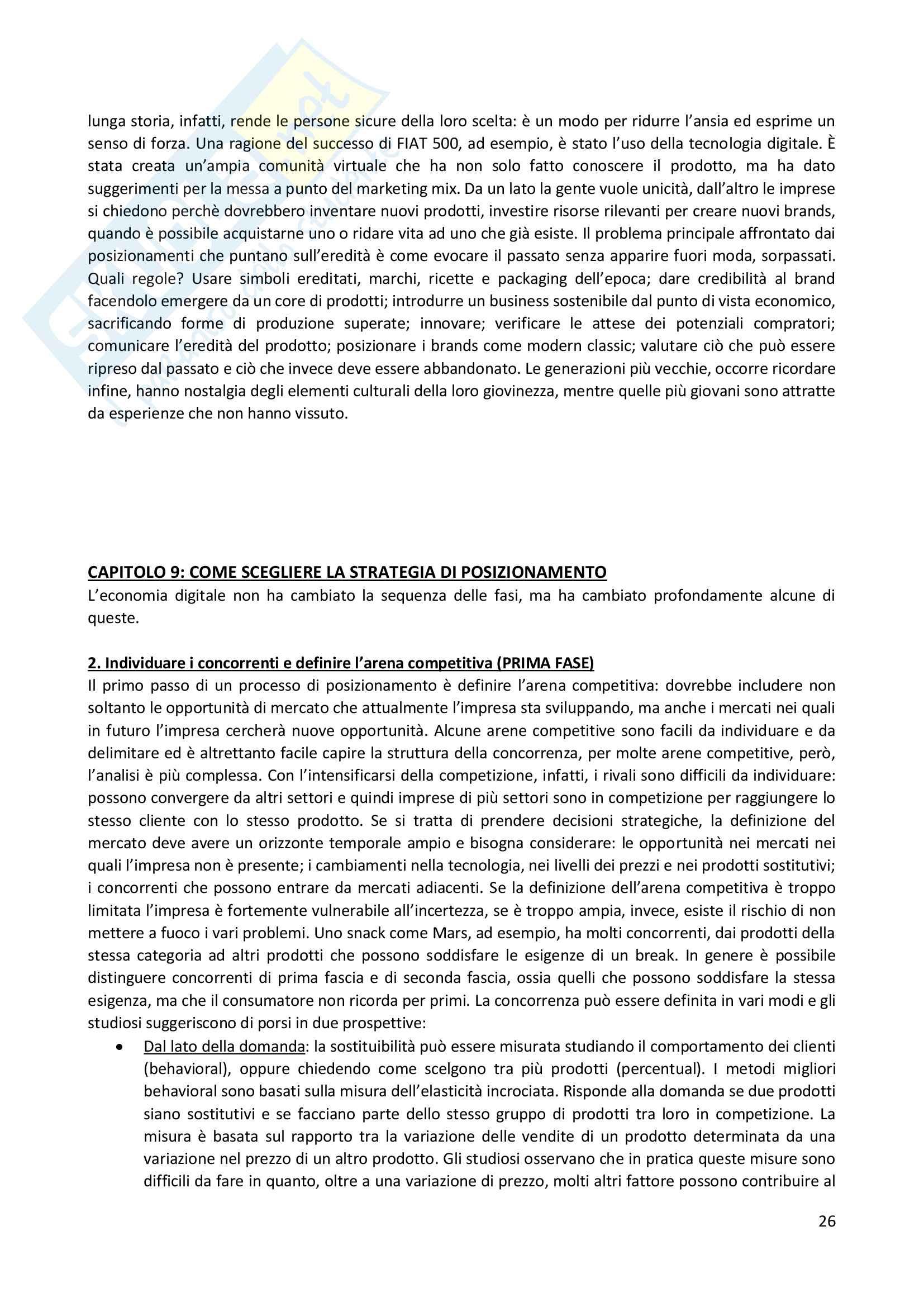 """Riassunto esame Branding, prof A.C. Pellicelli, libro consigliato""""Le strategie di posizionamento nell'economia digitale"""" A.C. Pellicelli Pag. 26"""