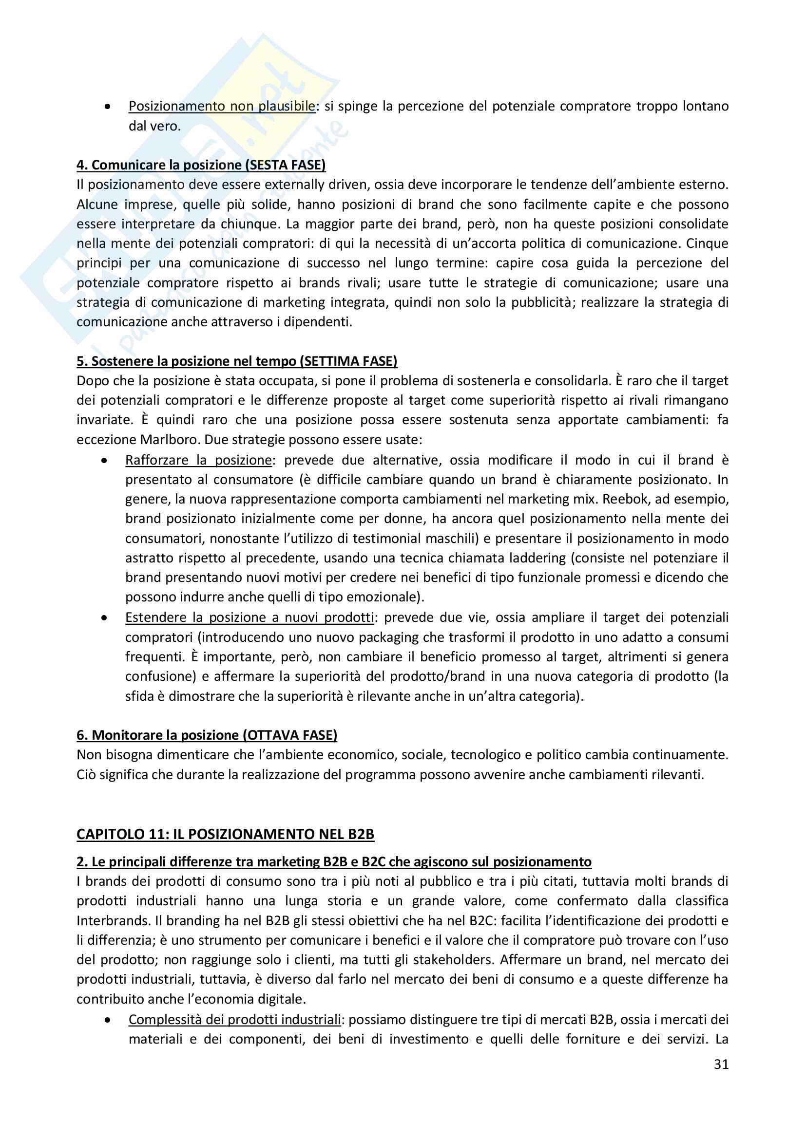 """Riassunto esame Branding, prof A.C. Pellicelli, libro consigliato""""Le strategie di posizionamento nell'economia digitale"""" A.C. Pellicelli Pag. 31"""