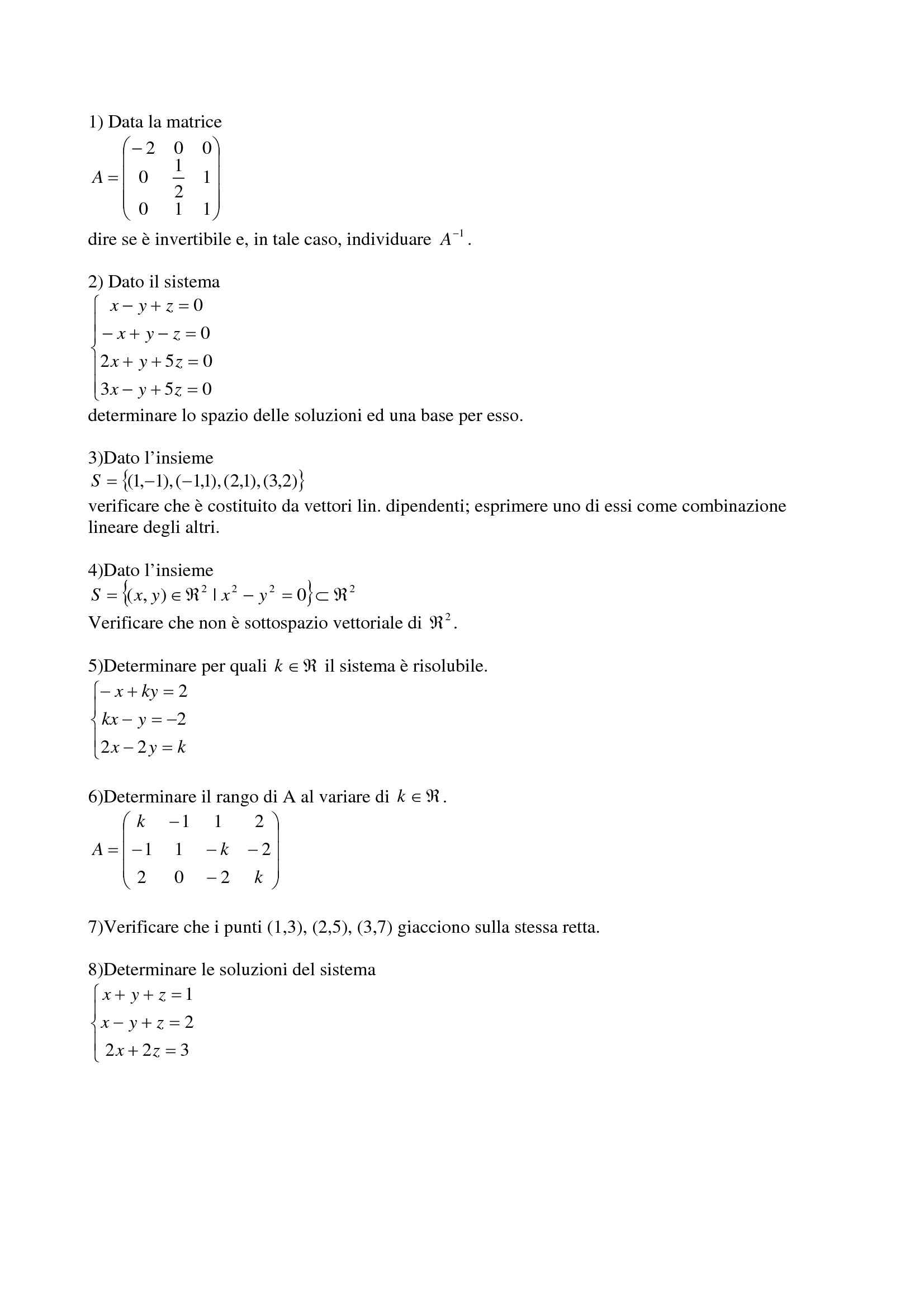 Matematica Generale - Matrice, vettori, rette