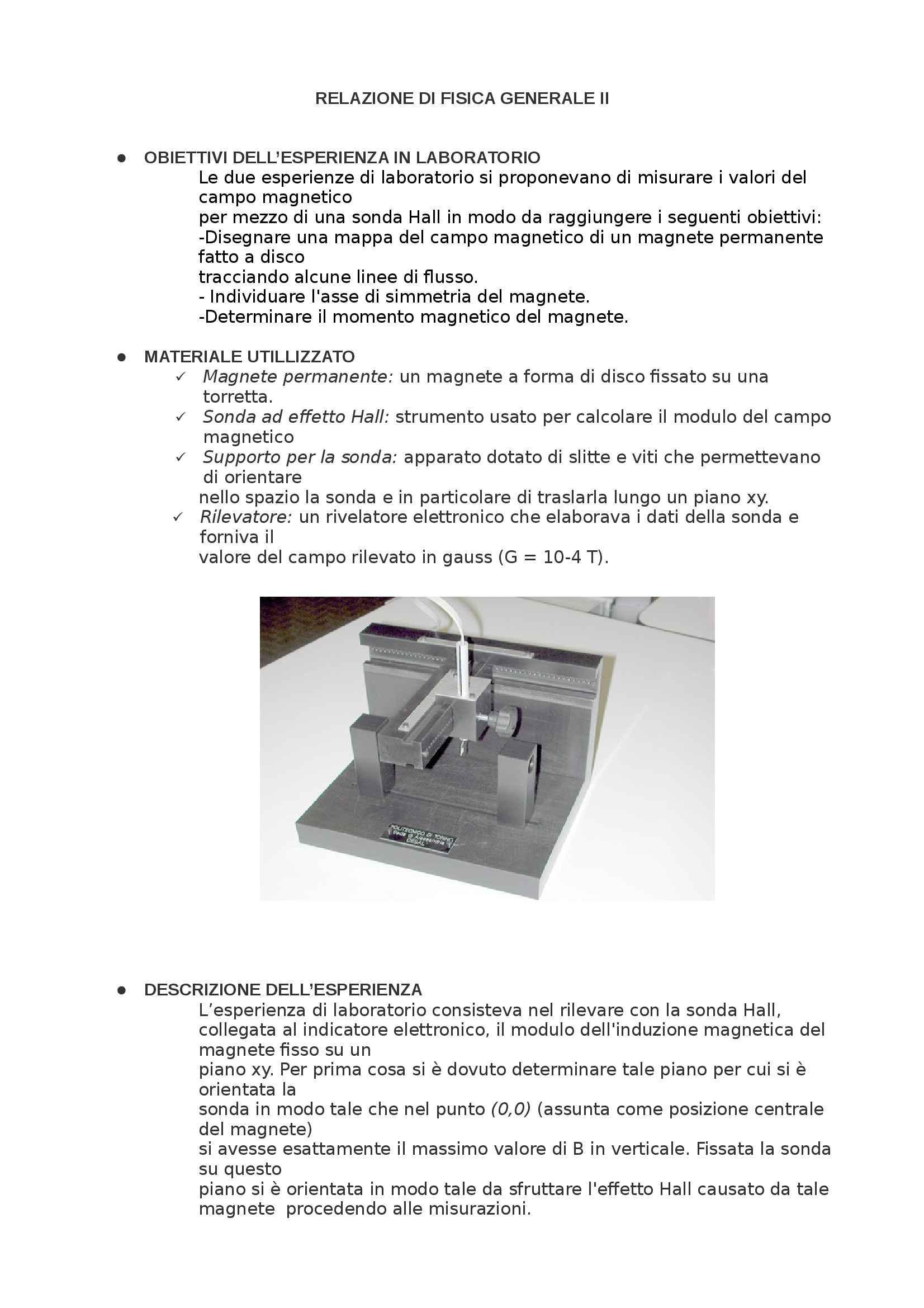 Fisica II - Mappatura Campo Magnetico relazione