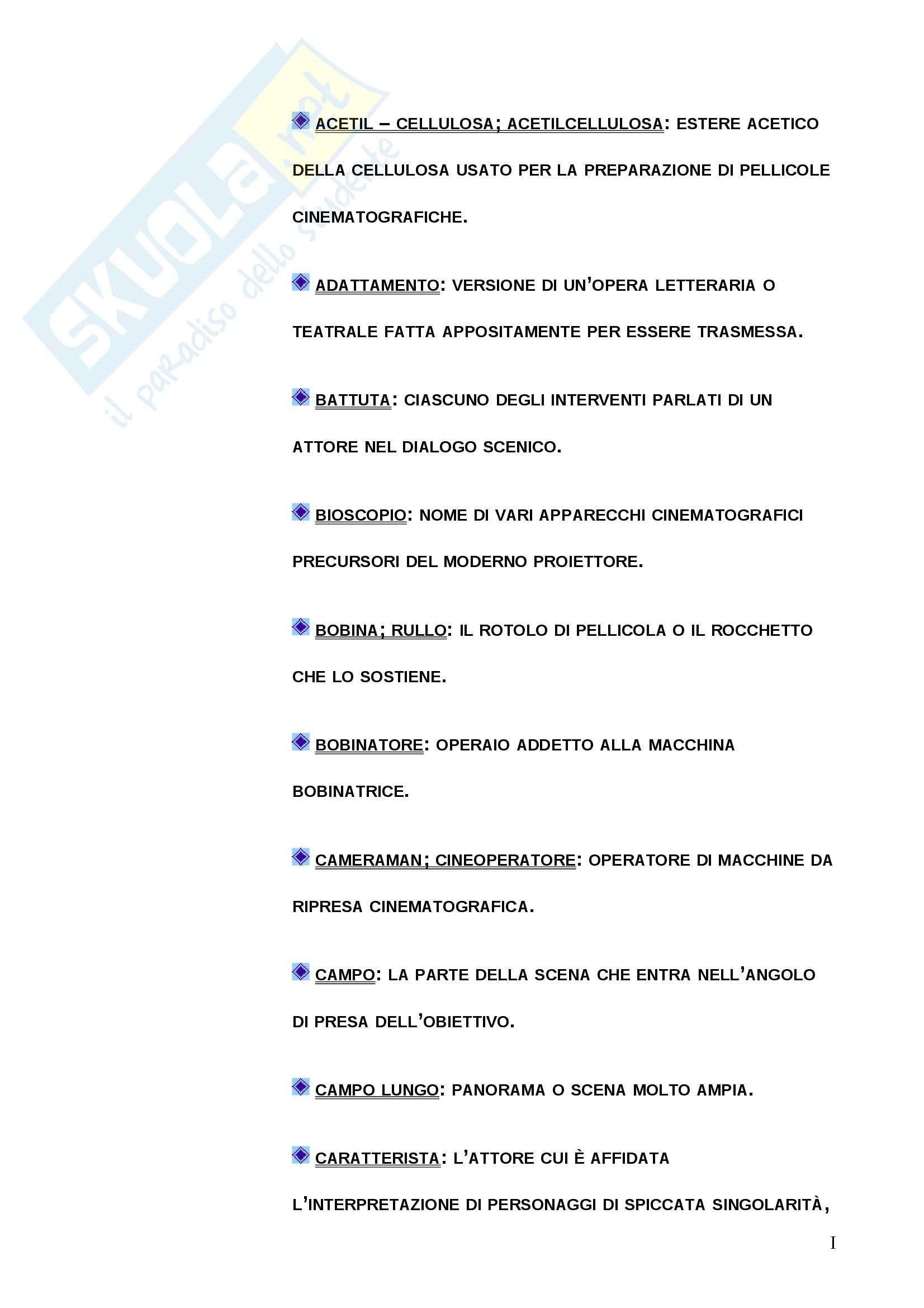 Mediazione francese - glossario con definizioni terminologia cinematografica in italiano