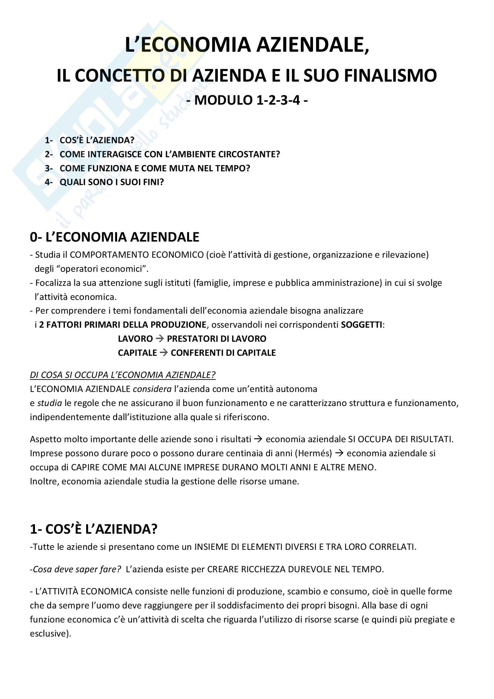 Riassunto per l'esame di Economia Aziendale, Prof. Mazzola, libro consigliato Economia Aziendale (Mc Graw-Hill), Mazzola