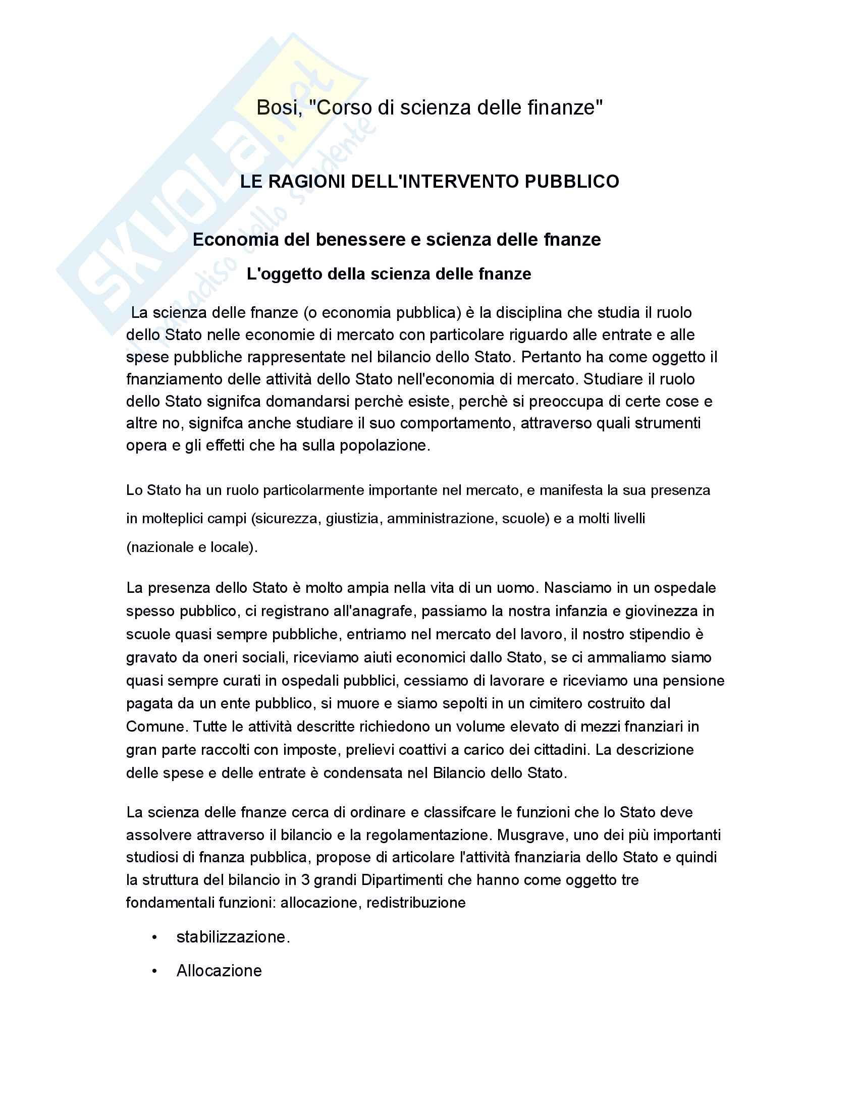Riassunto esame scienza delle finanze, prof Baldini, libro consigliato Corso di Scienza delle finanze di P .Bosi