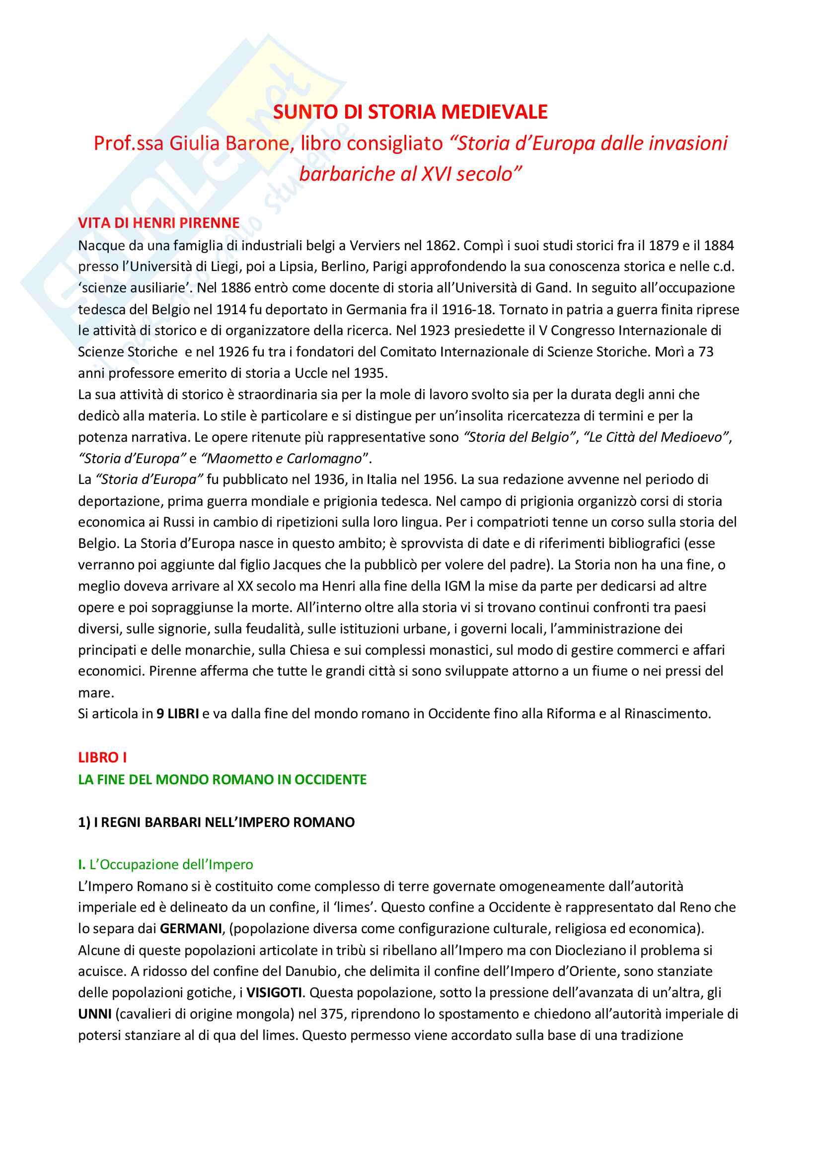 Riassunto esame Storia medievale, Prof.ssa Barone, libro consigliato Storia d'Europa dalle invasioni barbariche al XVI secolo, Henri Pirenne