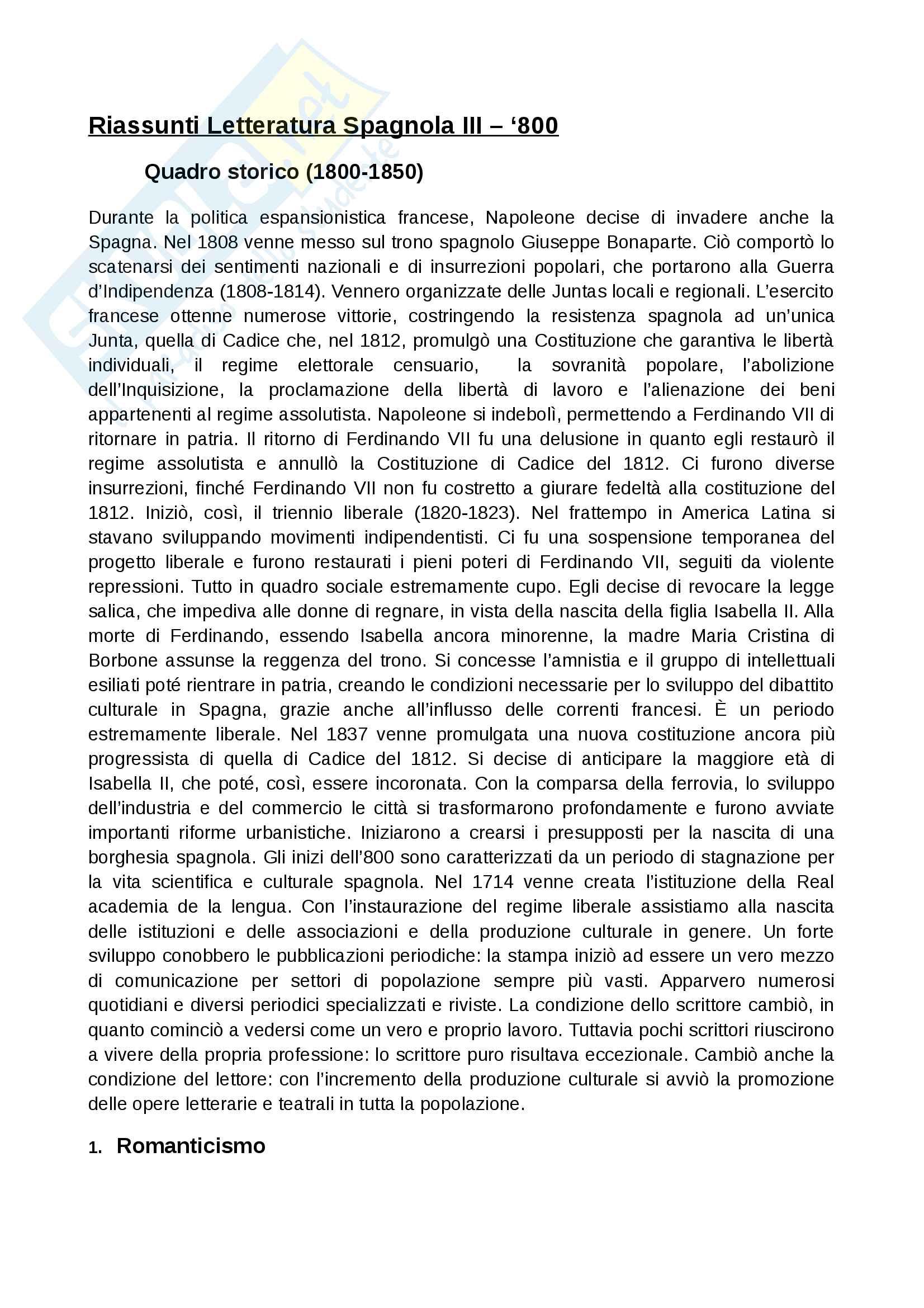 appunto M. D'Agostino Letteratura spagnola 3