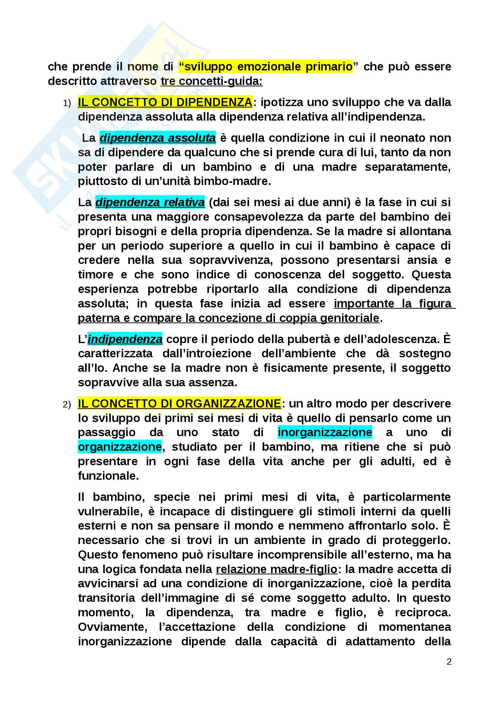 Riassunto esame Psicologia dinamica, Winnicott, libro consigliato Manuale di psicologia dinamica, Zavattini Pag. 2
