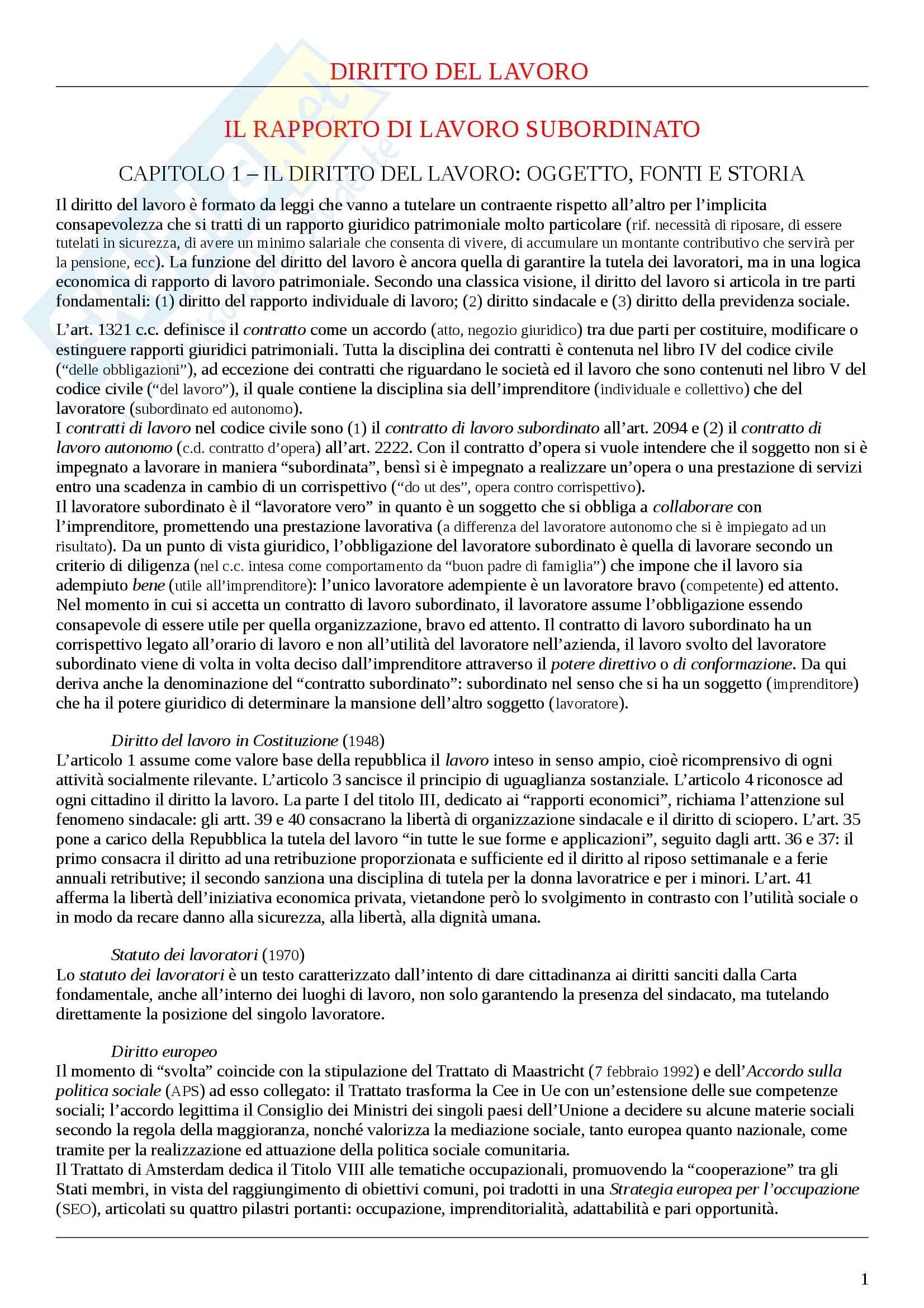 """Riassunto esame, Diritto del lavoro, prof. Occhino, libro consigliato """"Diritto del lavoro"""" (Carinci)"""