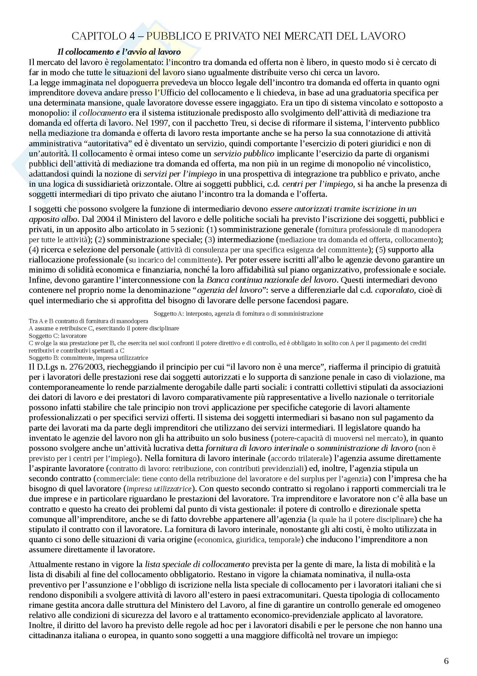 """Riassunto esame, Diritto del lavoro, prof. Occhino, libro consigliato """"Diritto del lavoro"""" (Carinci) Pag. 6"""