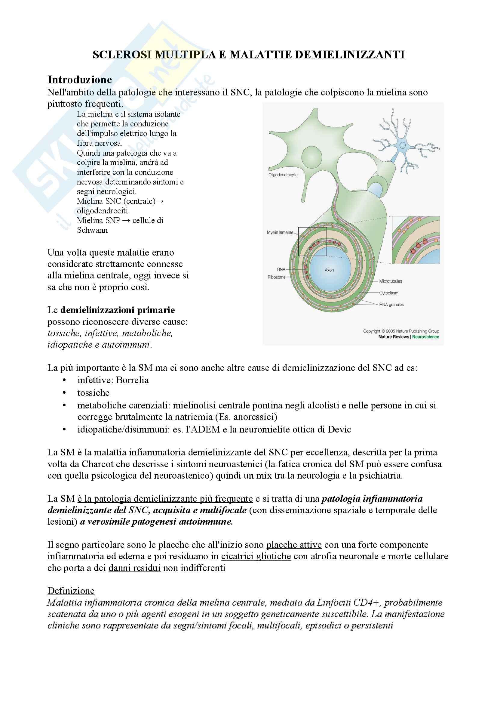 Riassunto esame Neurologia, prof. Pinessi, libro consigliato Il Bergamini di Neurologia, Bergamini: Sclerosi multipla