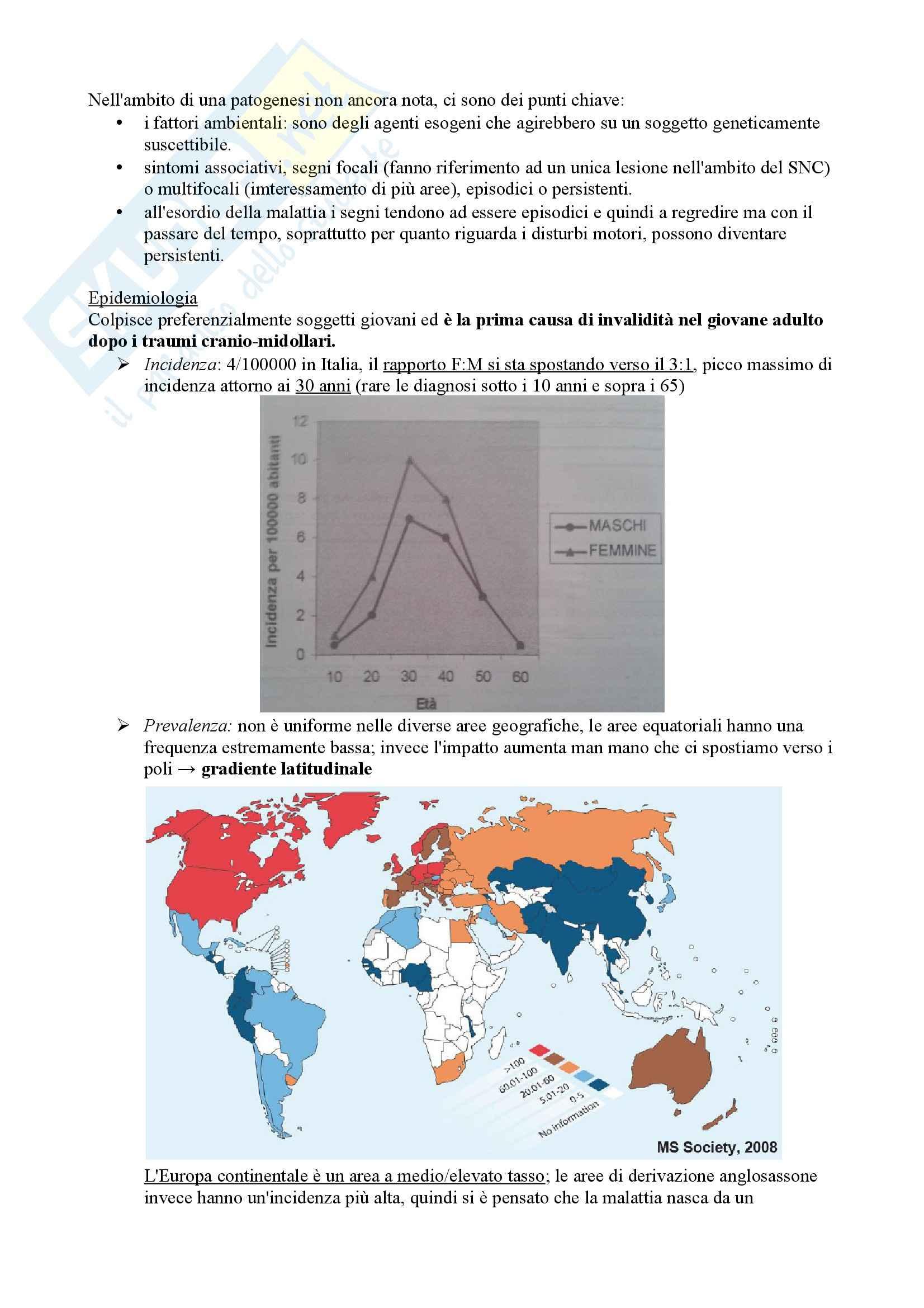 Riassunto esame Neurologia, prof. Pinessi, libro consigliato Il Bergamini di Neurologia, Bergamini: Sclerosi multipla Pag. 2
