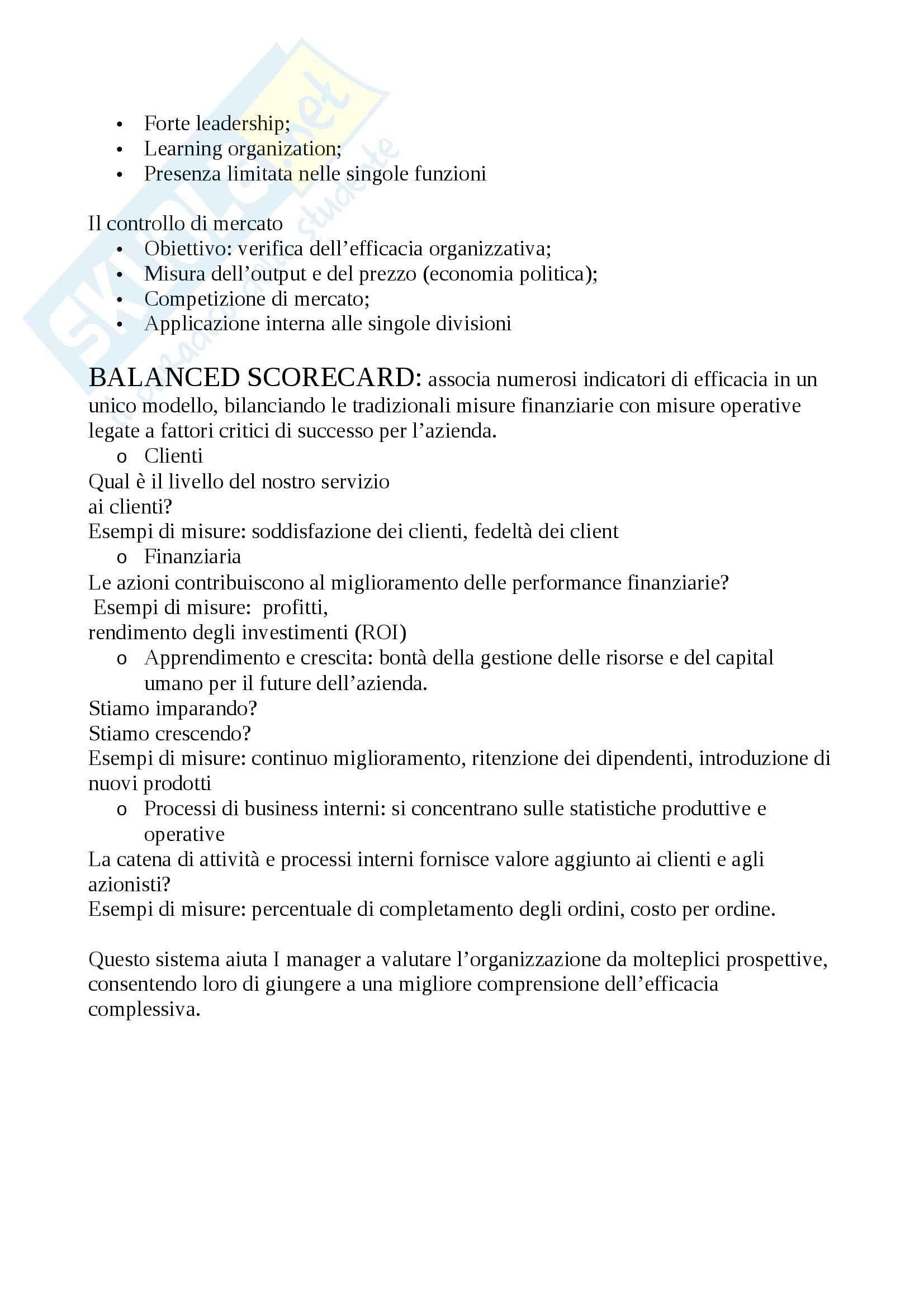 Riassunto esame Organizzazione aziendale, prof. Rajola Pag. 36