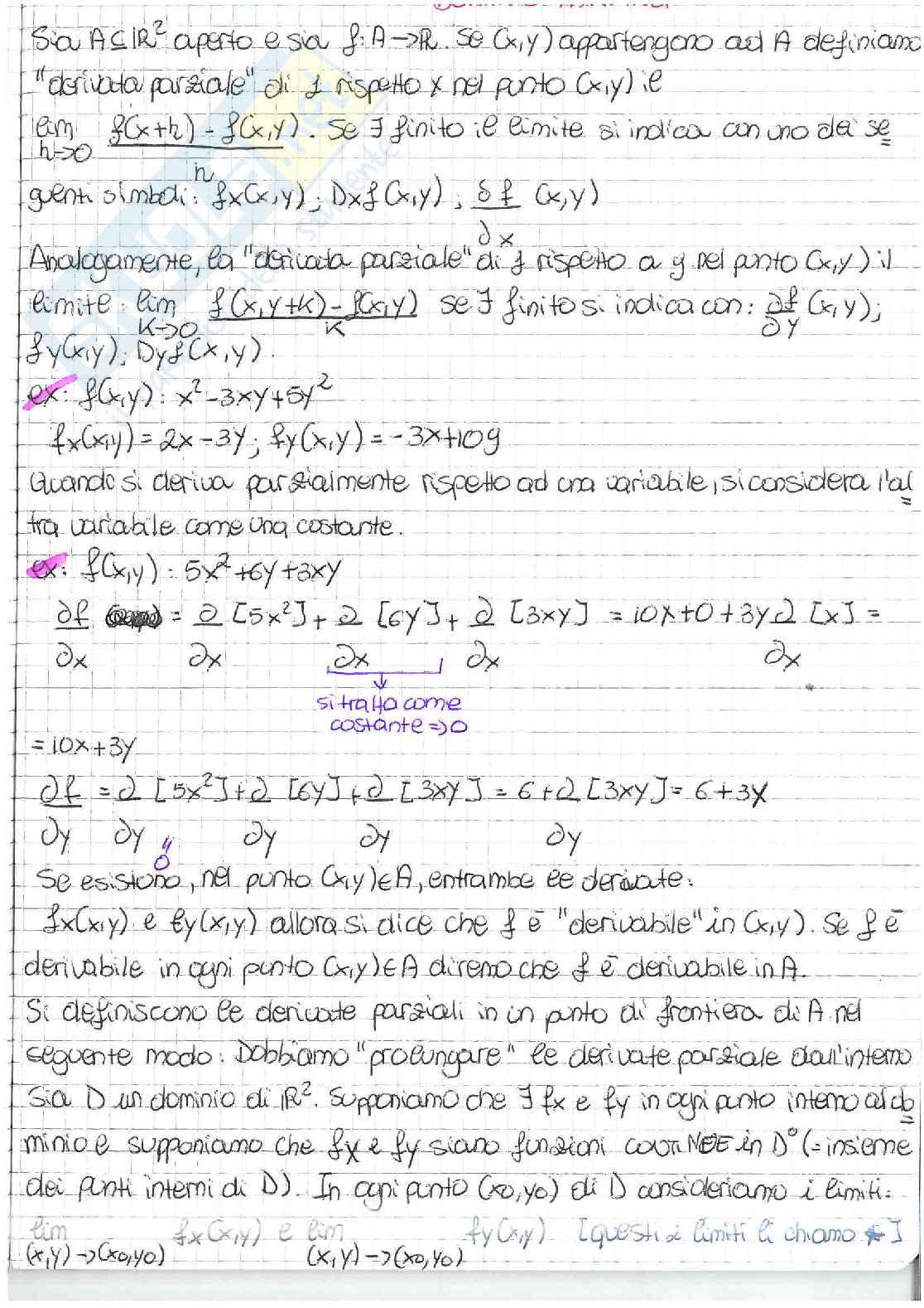 Derivate parziali, matrice hessiana, teorema di Schwarz Pag. 1