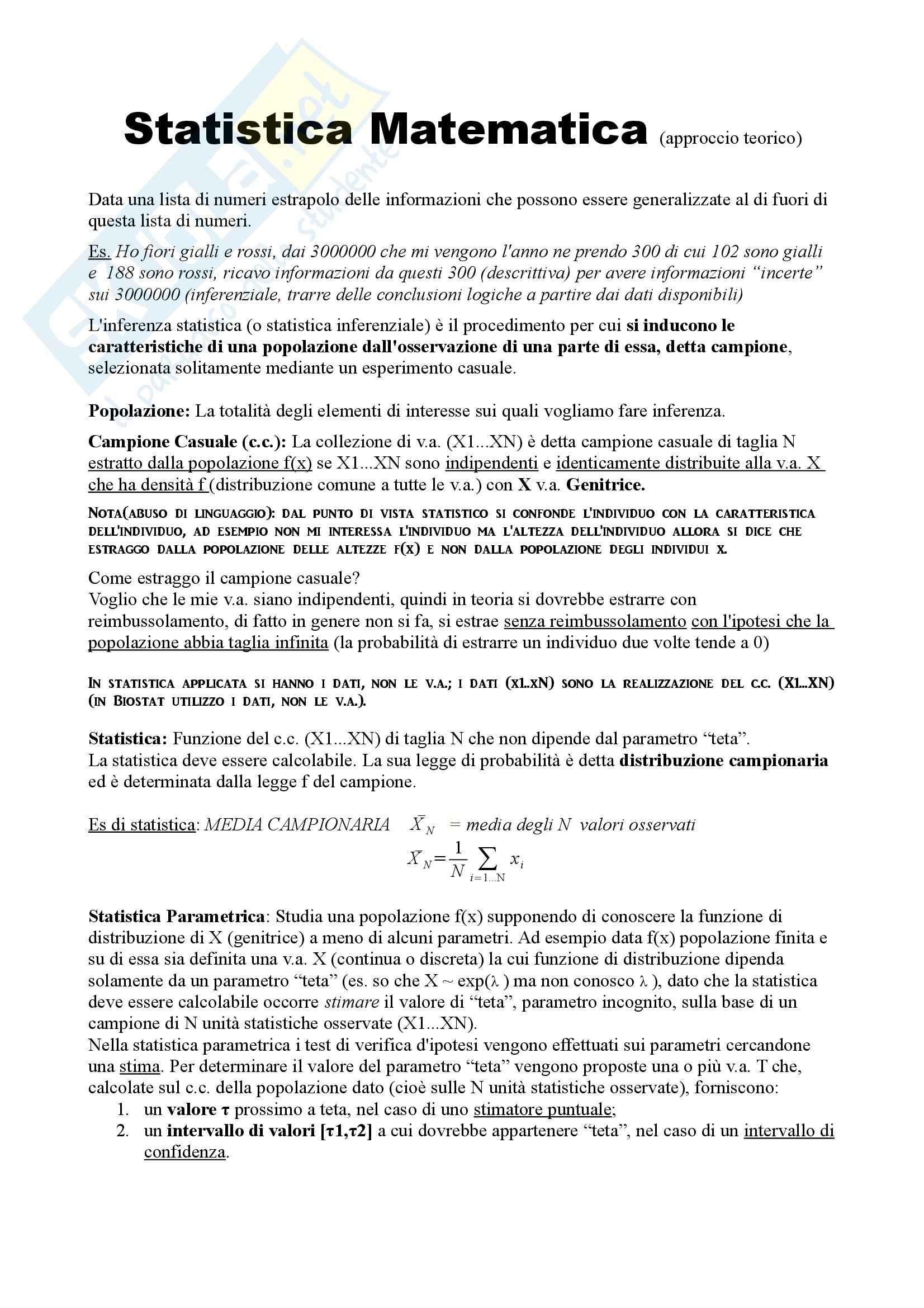 Calcolo delle probabilità e statistica matematica - Appunti