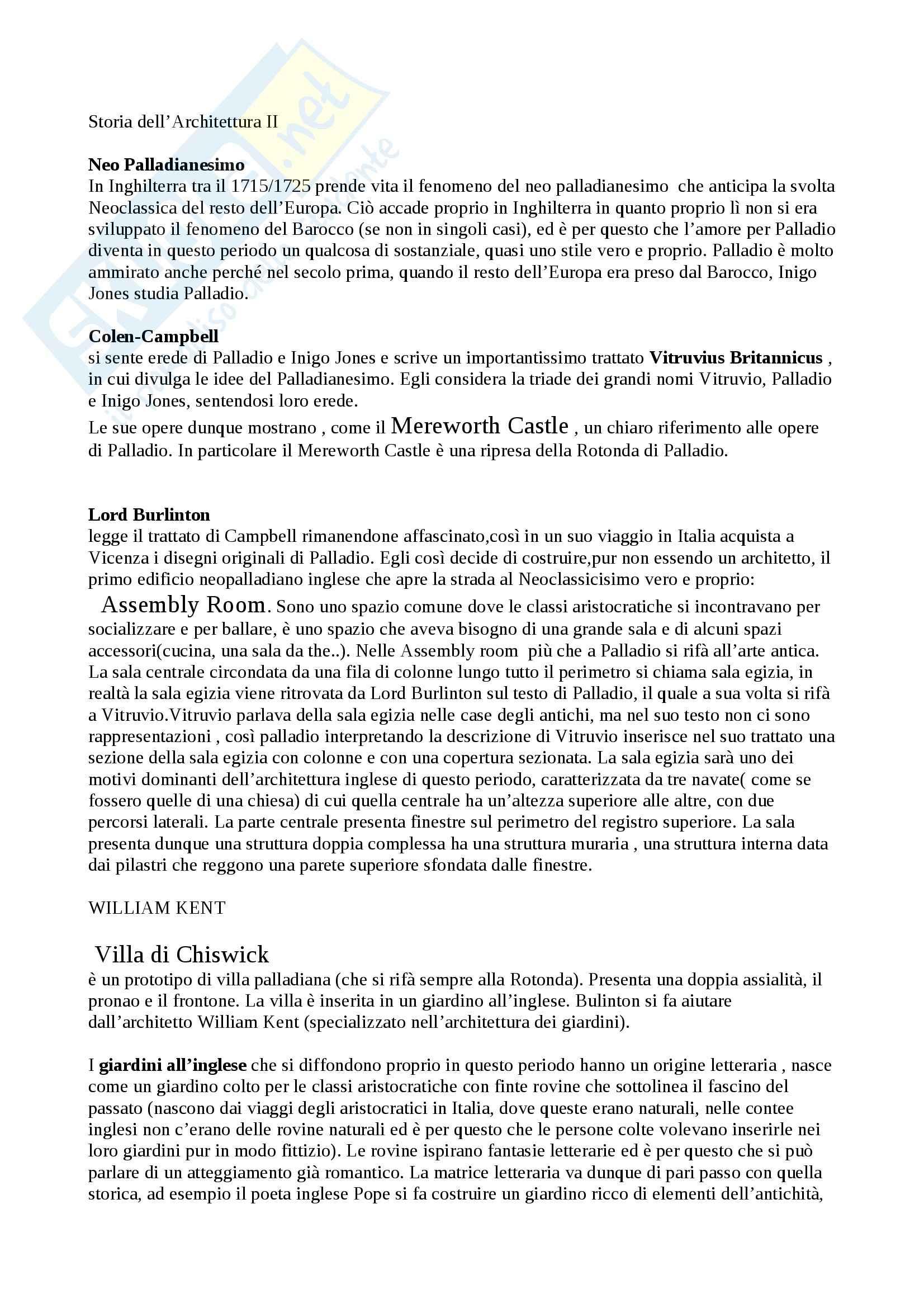 Storia dell'architettura - neopalladianesimo Pag. 1