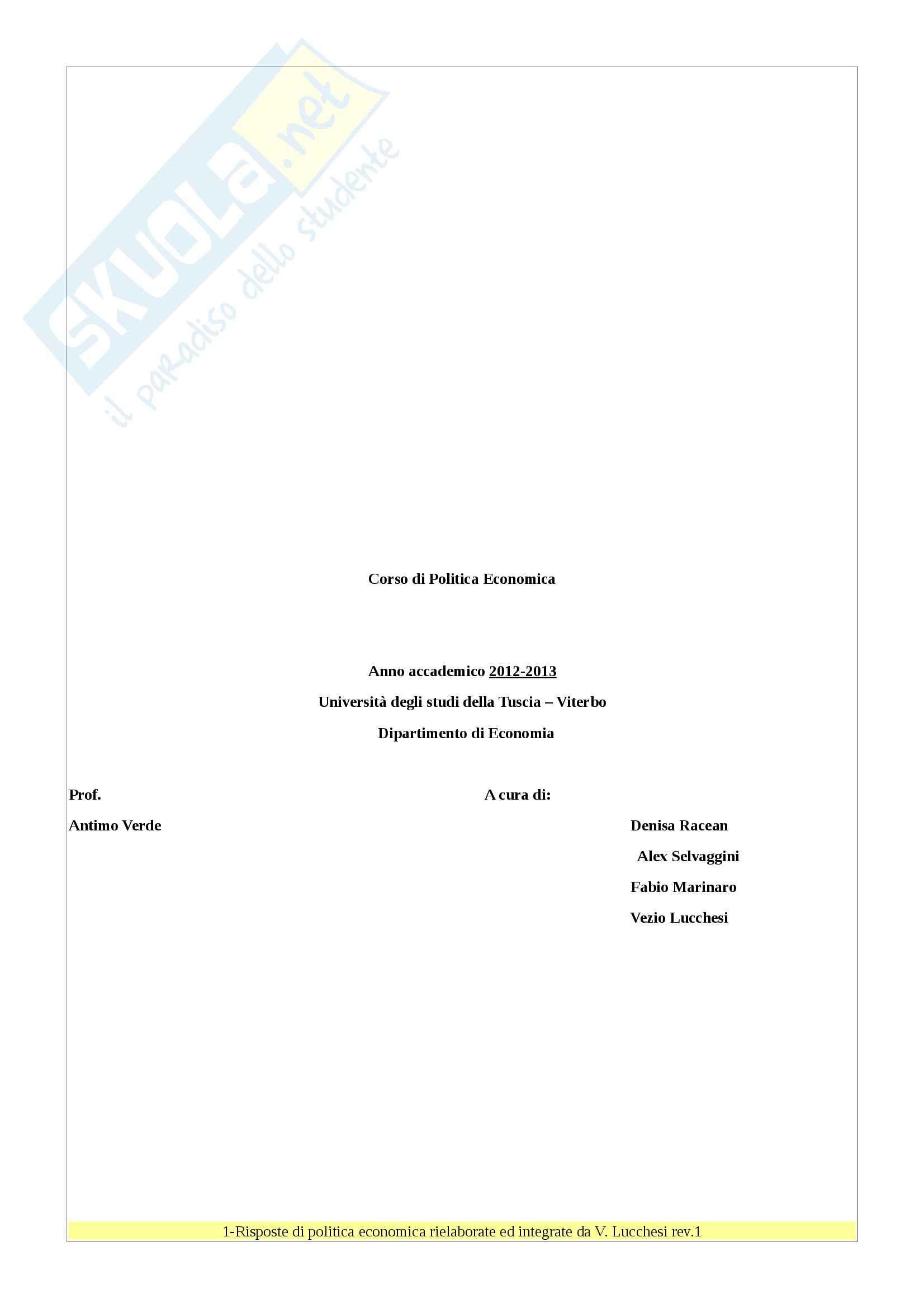 Risposte : Appunti di Politica Economica