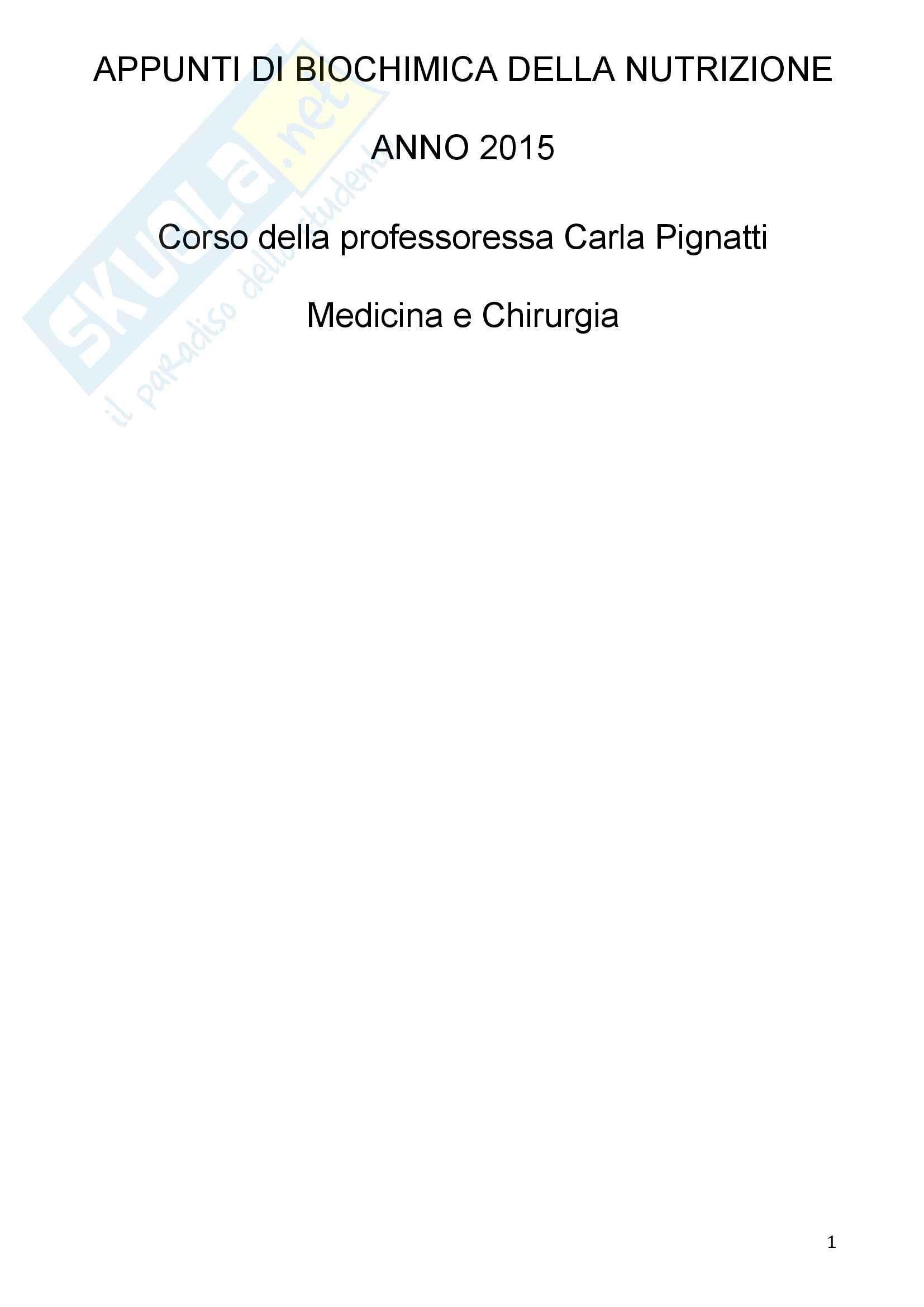 Appunti di biochimica della nutrizioneProfessoressa Carla Pignatti