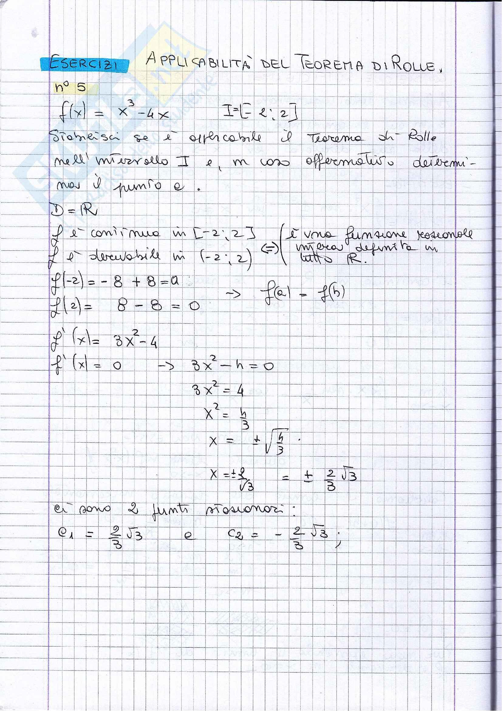 Esercizi svolti sui teoremi delle funzioni derivabili