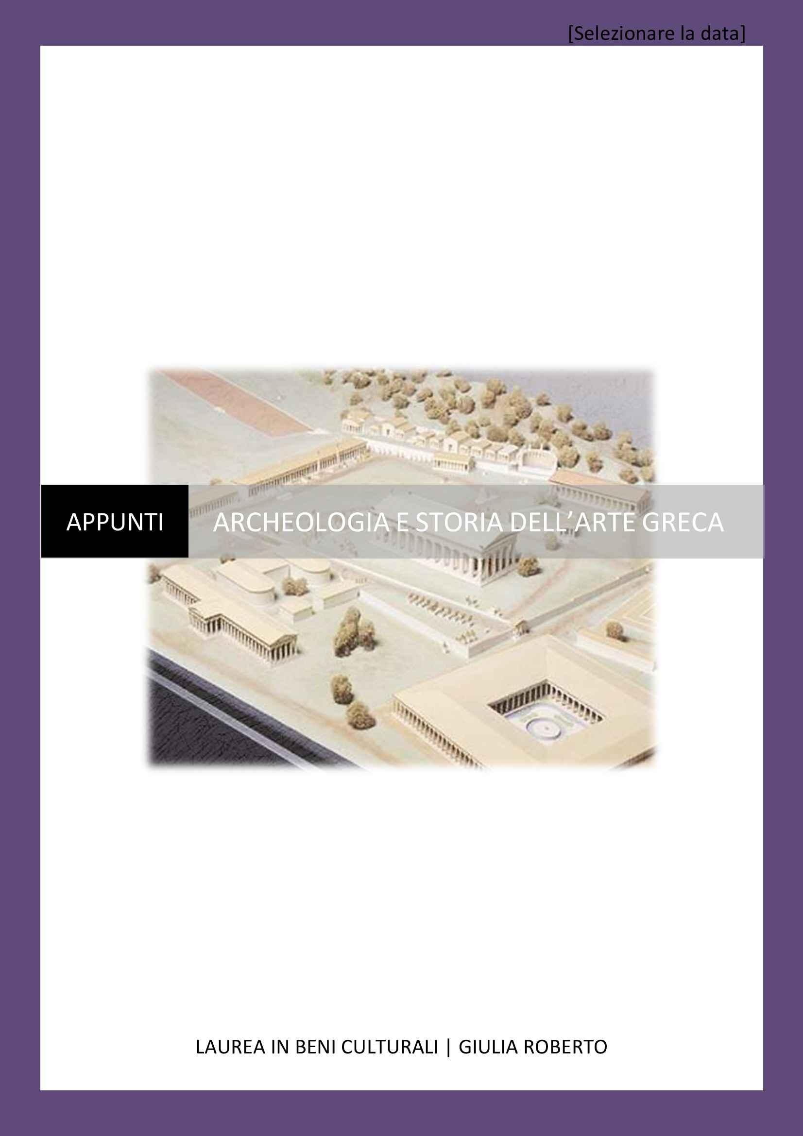 Archeologia e storia dell'arte greca - Appunti