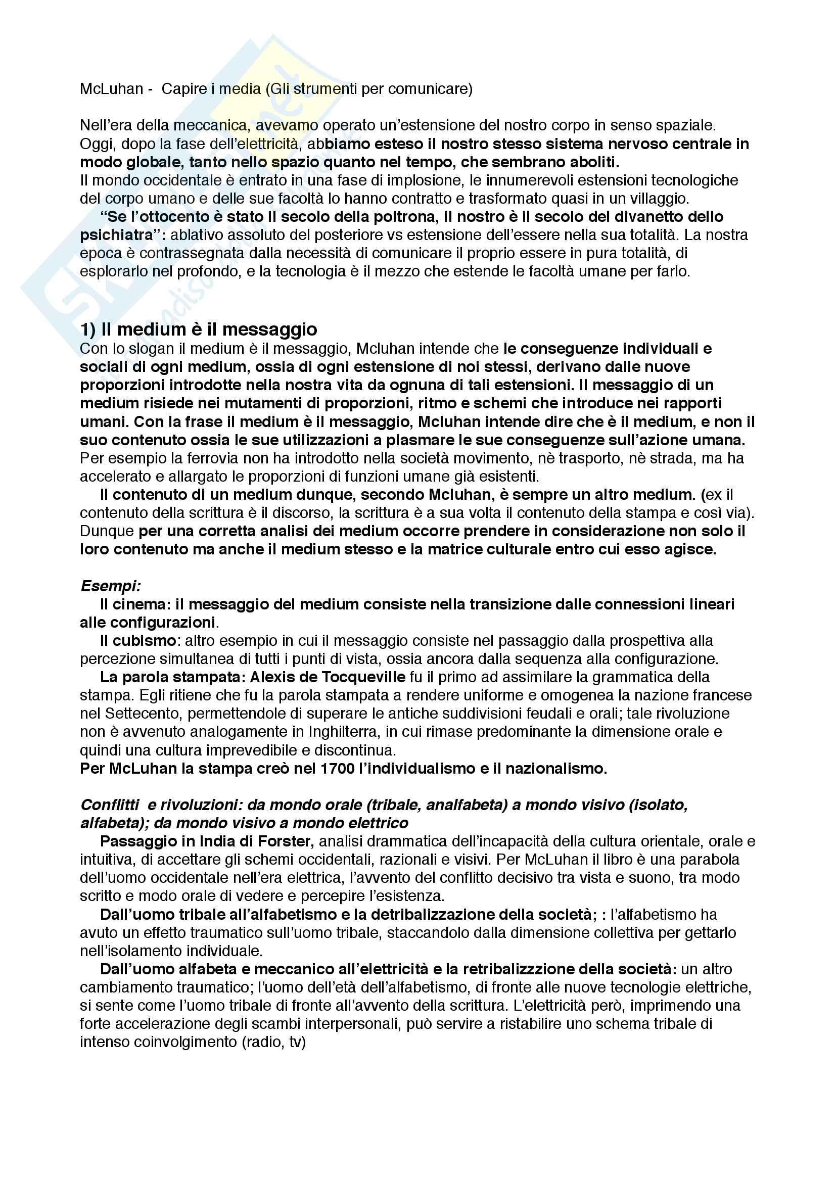 Sunto di fenomenologia degli stili, prof. Gian Luca Tusini, libro consigliato Gli strumenti del comunicare - Understanding Media, Marshall McLuhan