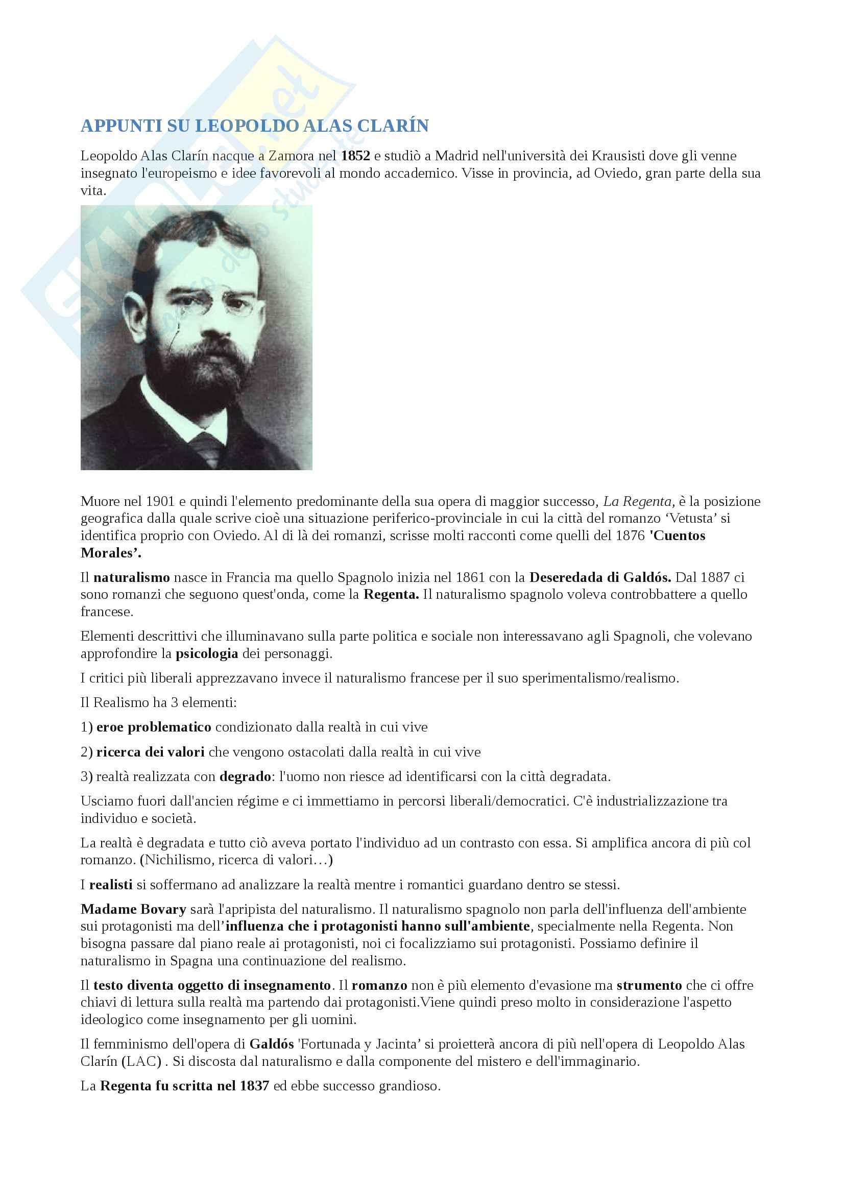 Appunti su Leopoldo Alas Clarin