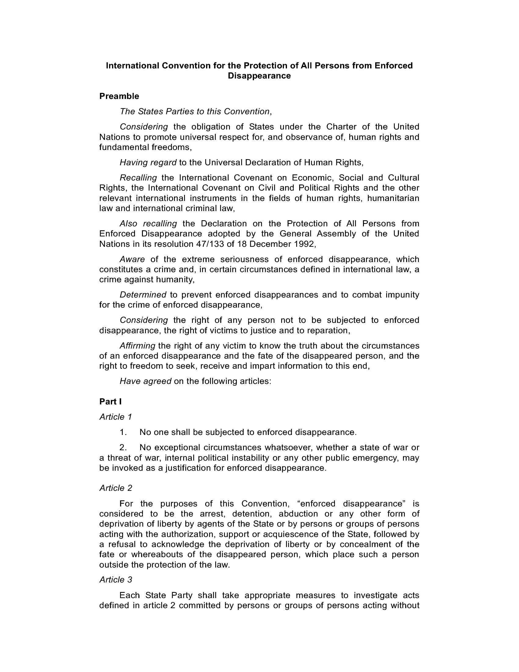 Sparizioni forzate - Carta ONU