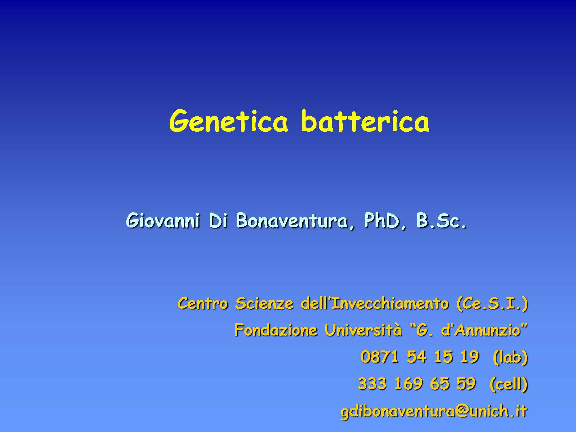 Genetica batterica Pag. 1